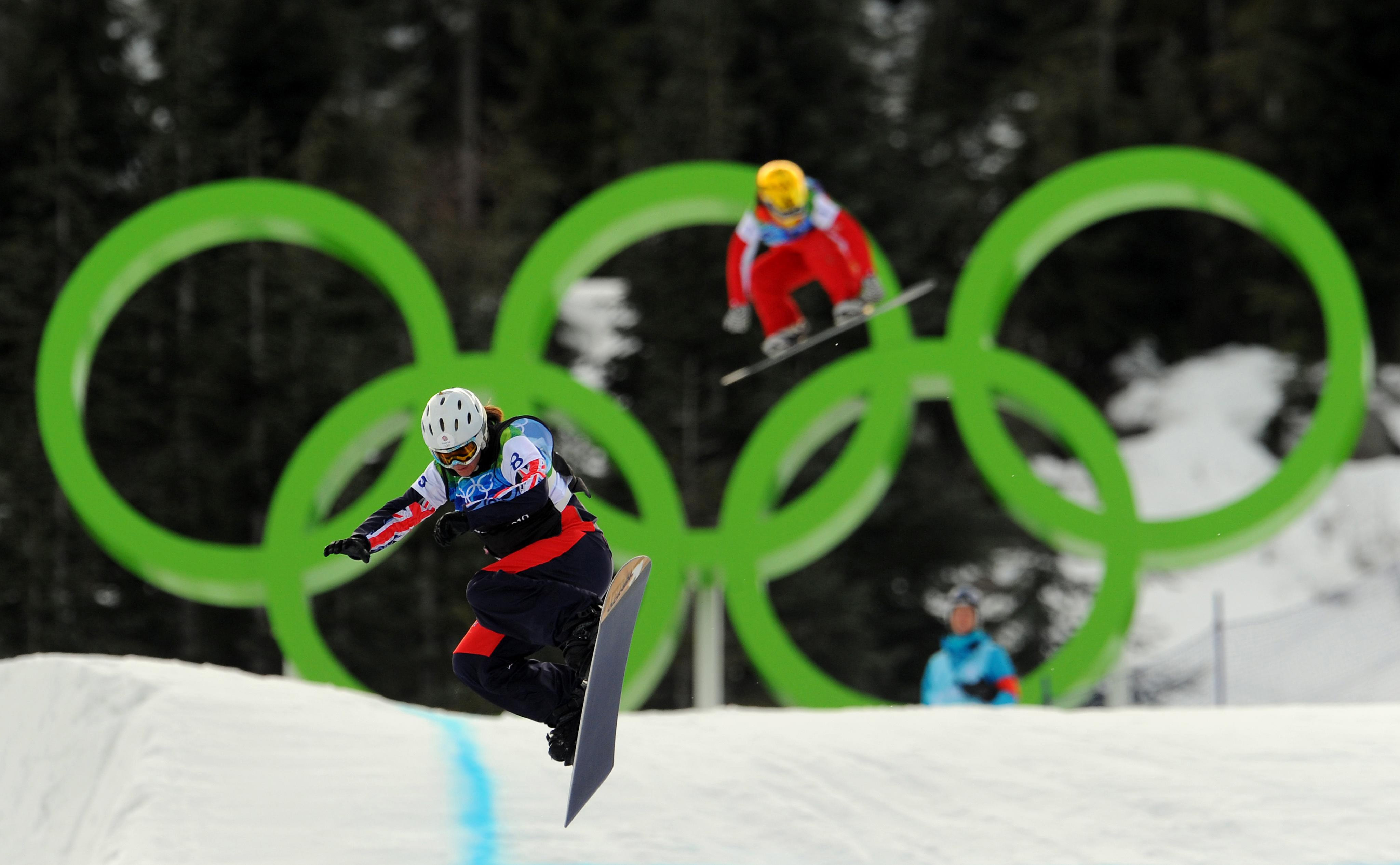 Great Britain's Zoe Gillings in action during her Ladies' Snowboard Cross semi-final on Cypress Mountain, Vancouver, Canada.