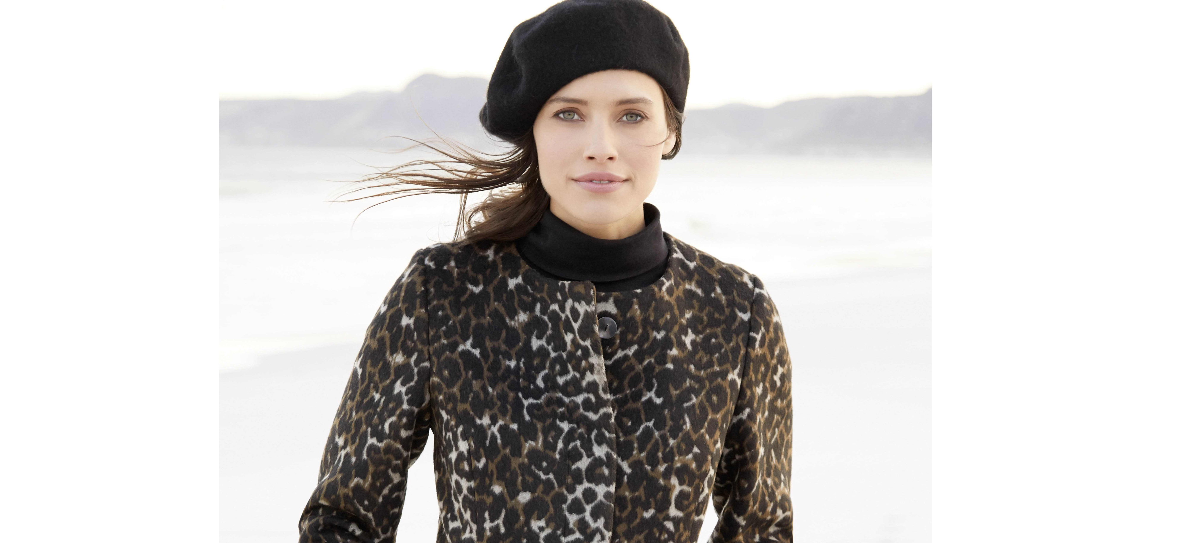 model wearing M&Co Wool Beret Collarless Leopard Print Coat and Black Button Trip Rollneck Jumper