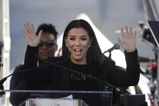 Eva Longoria addressing the crowds