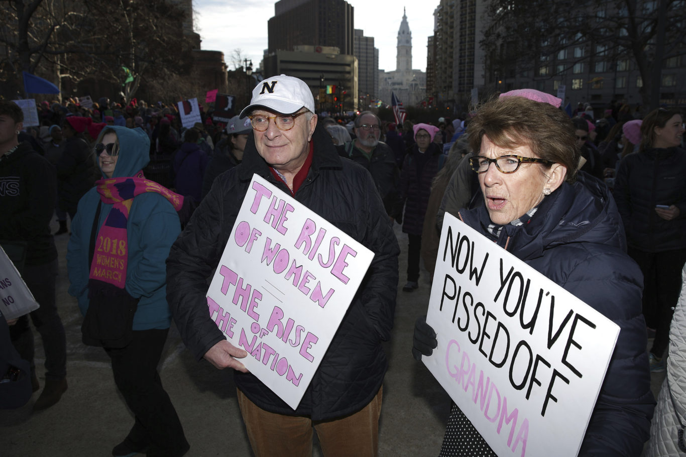Jay and Peggy Chiappa at the start of the Women's March in Philadelphia (David Maialetti/AP)