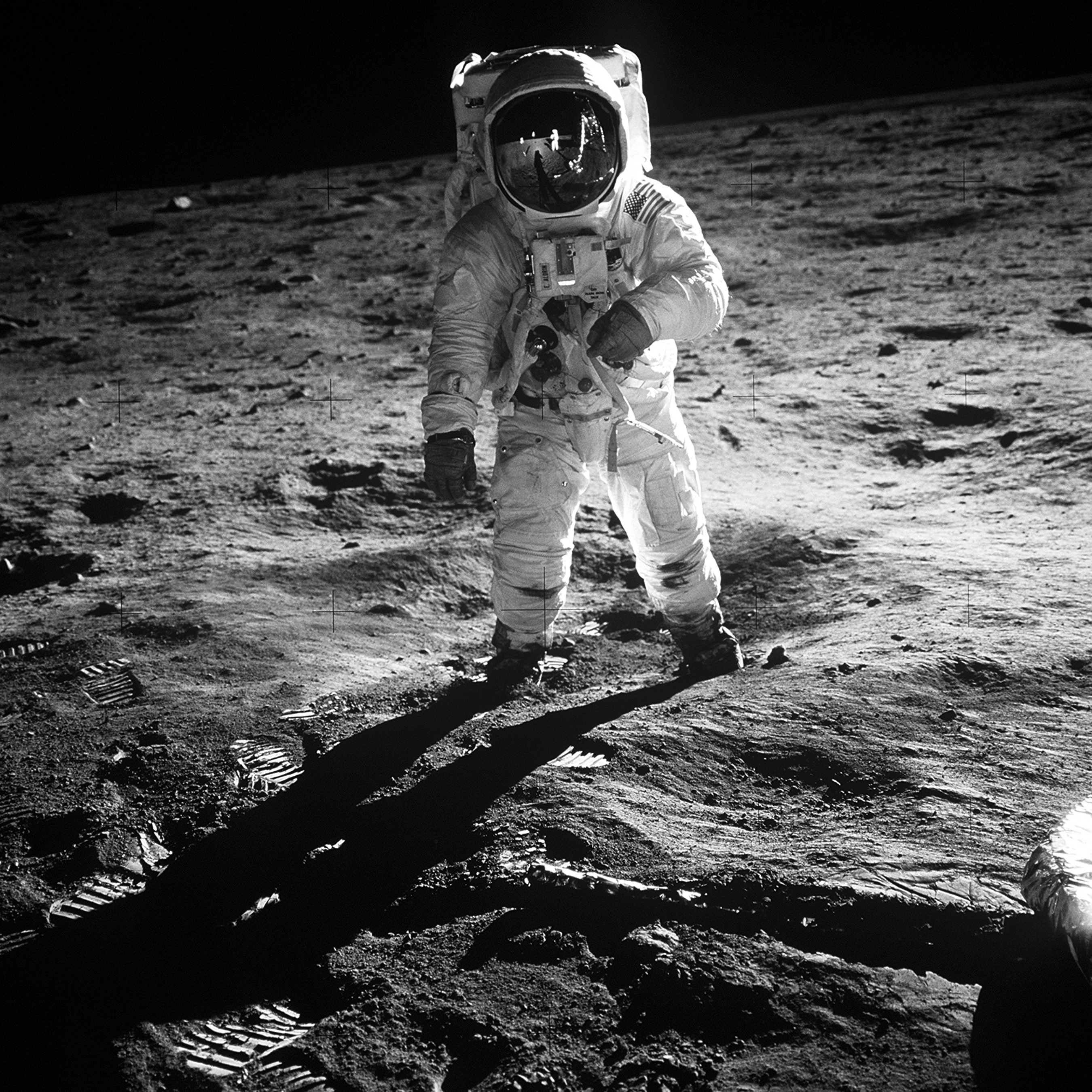 Neil Armstrong taking mankind's first ever steps on the moon.