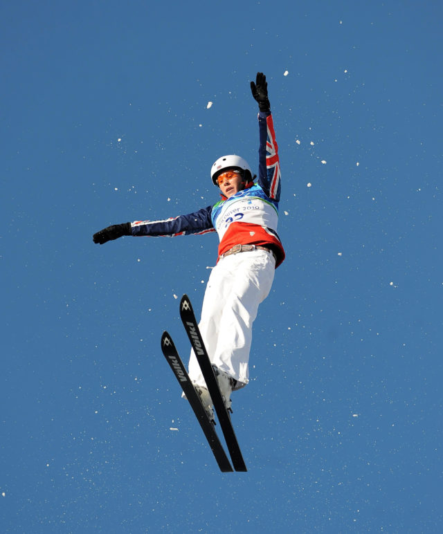 Team GB's Sarah Ainsworth strutting her stuff in the Women's Freestyle Skiing at the 2010 Vancouver Winter Olympics (PA)