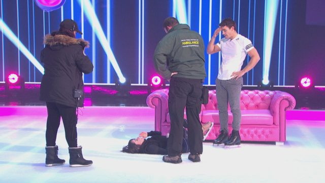 Dancing On Ice star Max Evans's partner taken to hospital after fall