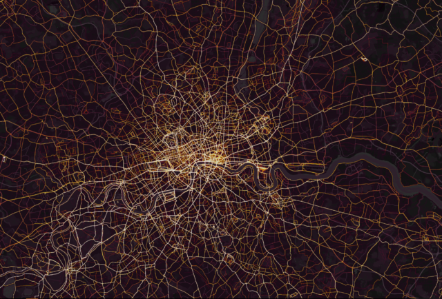 London viewed on Strava's heatmap (Screenshot)