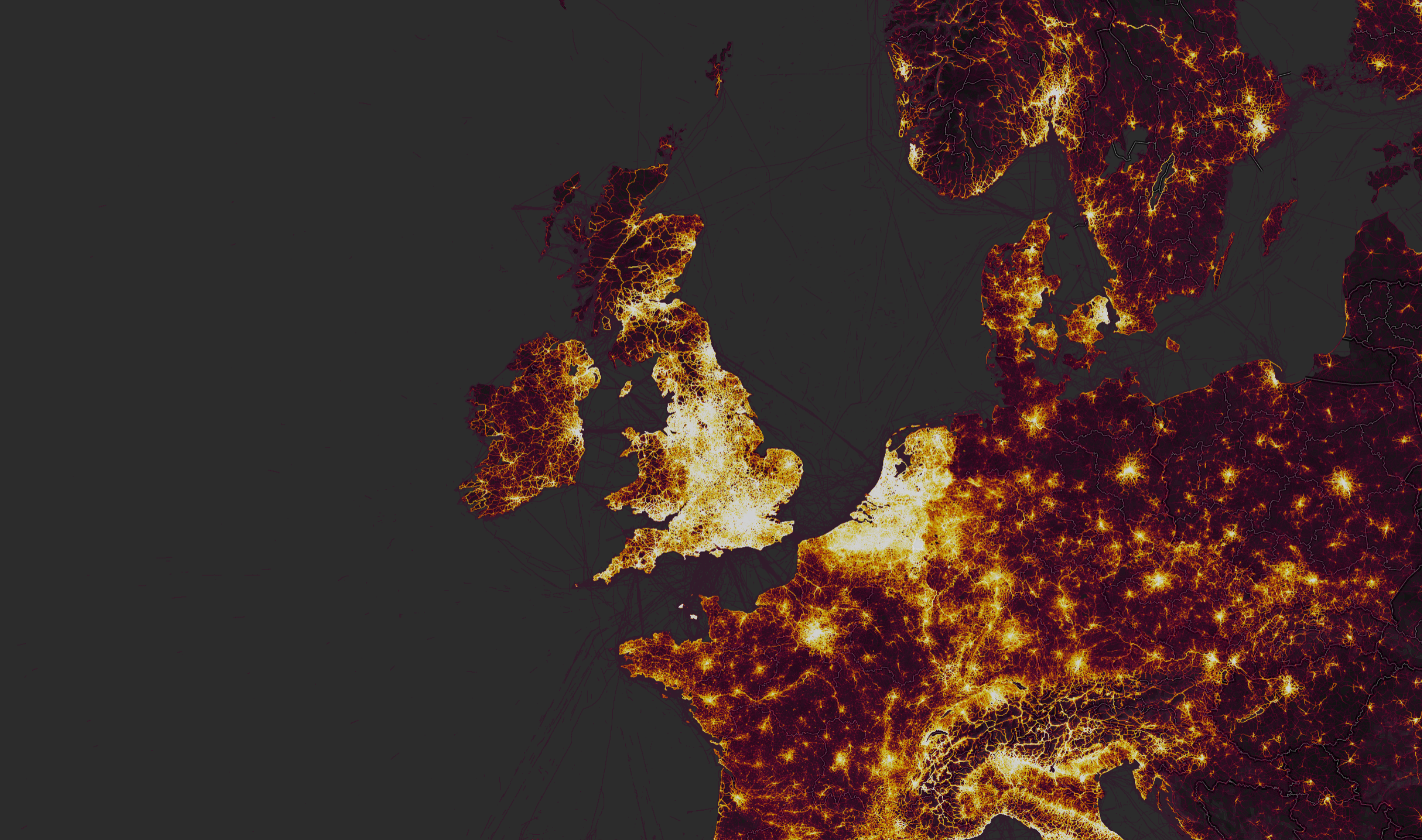 How Europe looks on Strava's heatmap (Screenshot)