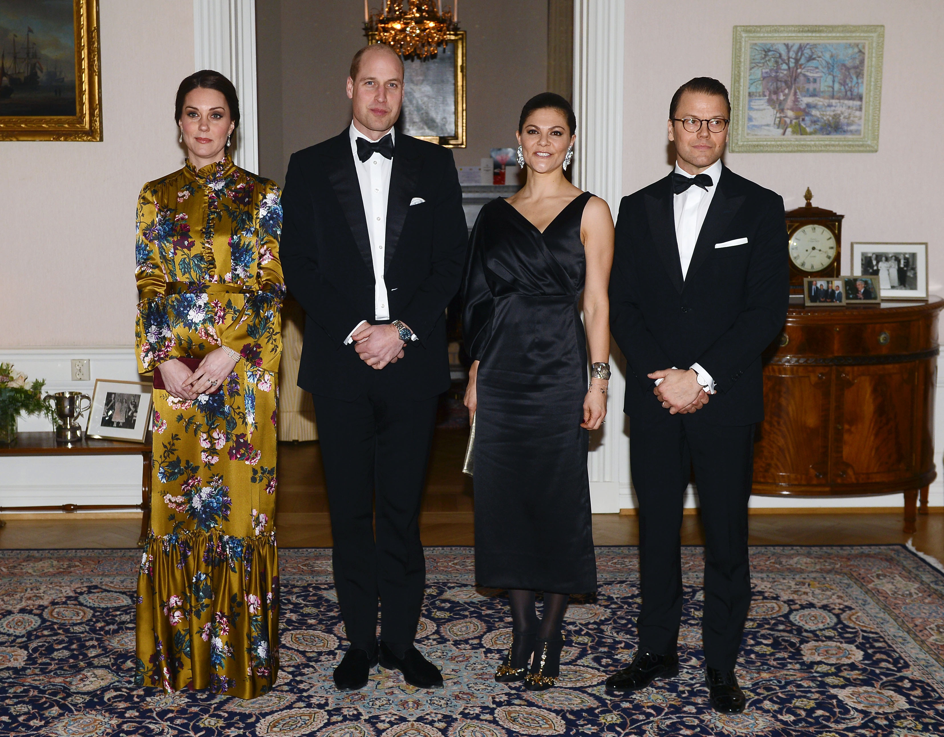 The Duke and Duchess of Cambridge accompanied by Crown Princess Victoria and Prince Daniel of Sweden at a dinner hosted by the British ambassador in Stockholm on the first day of their visit to Sweden