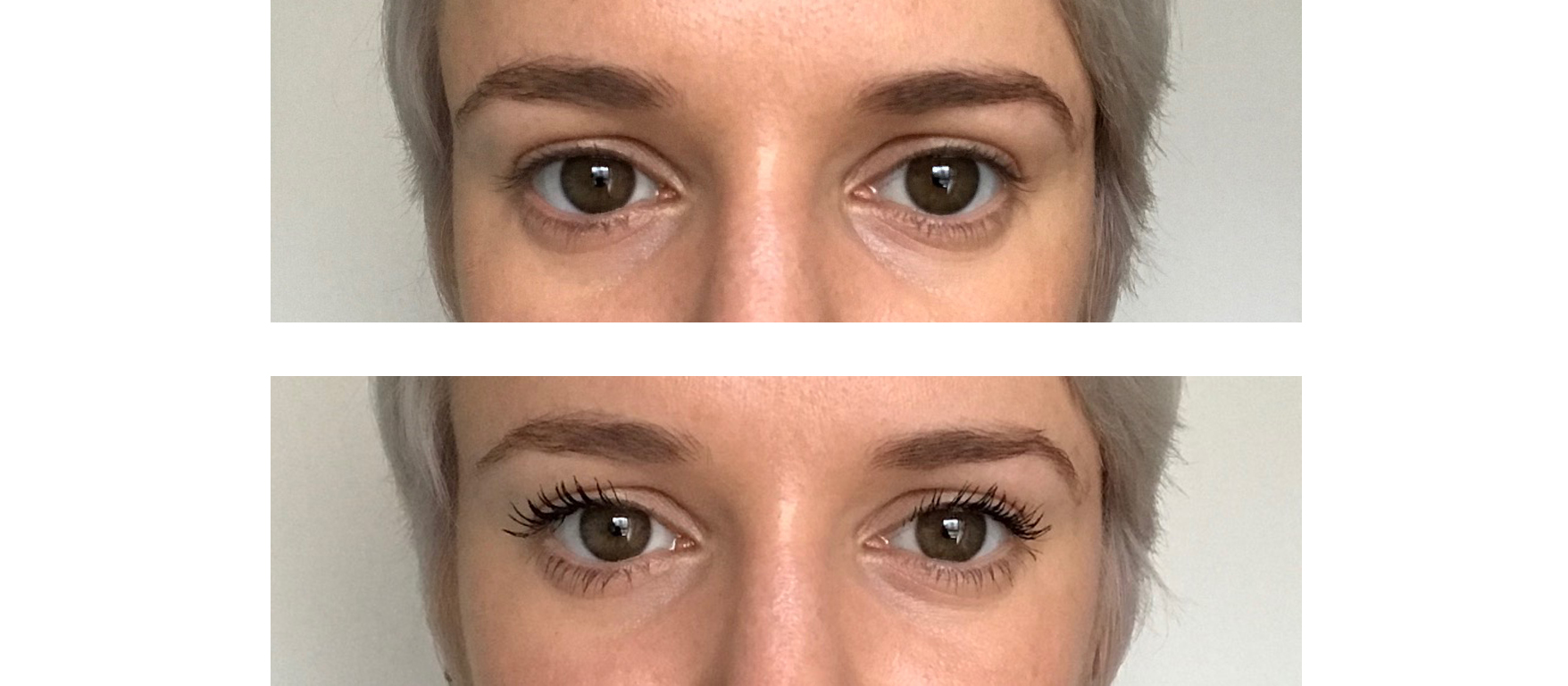 157fcc32aa1 before and after shots of eyes with Benefit Badgal Bang! mascara