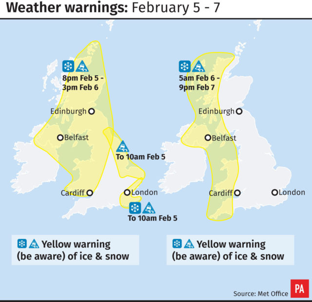 Wales yellow weather warning issued for snow and ice