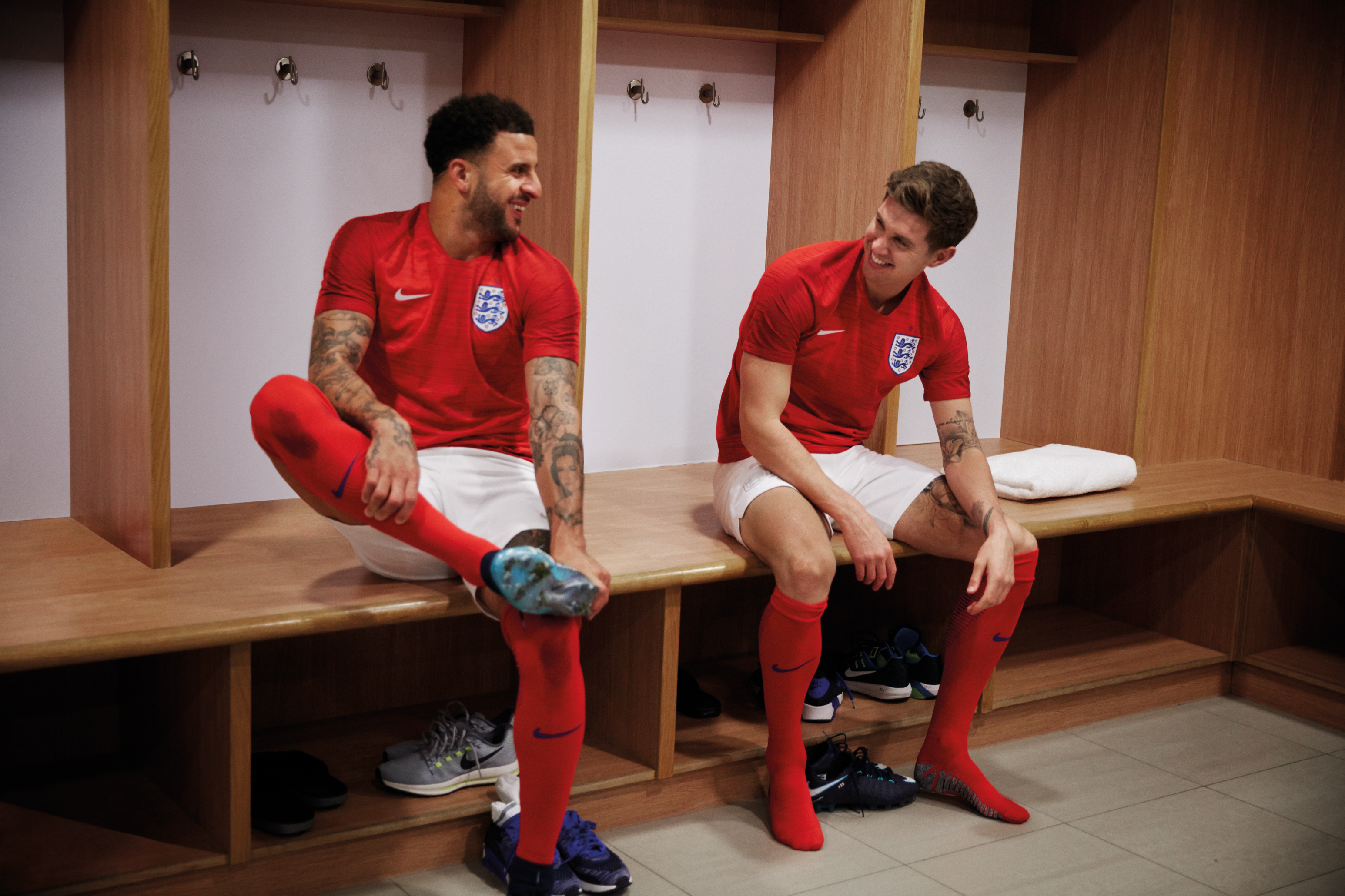 The red away kit on Kyle Walker and John Stones