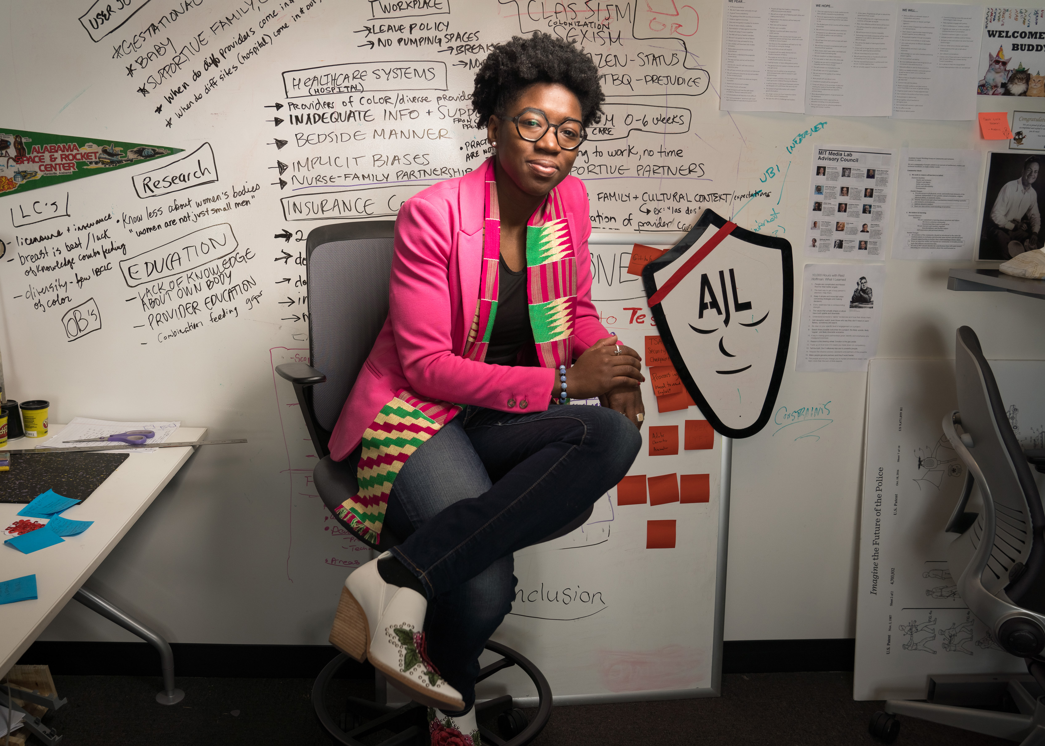 Joy Buolamwini, a researcher in the MIT Media Lab's Civic Media group.