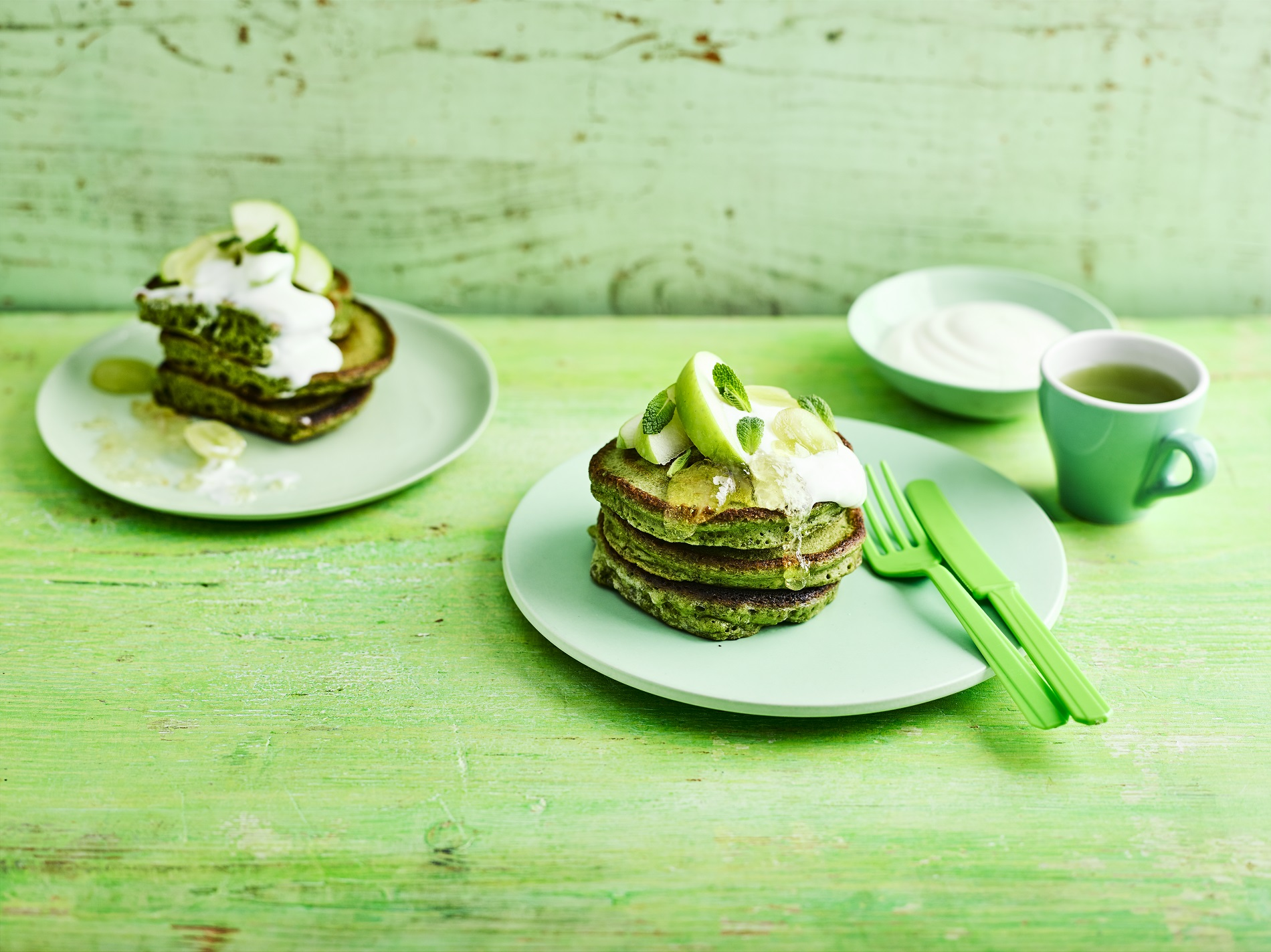 Matcha pancakes (BBC Good Food/PA)
