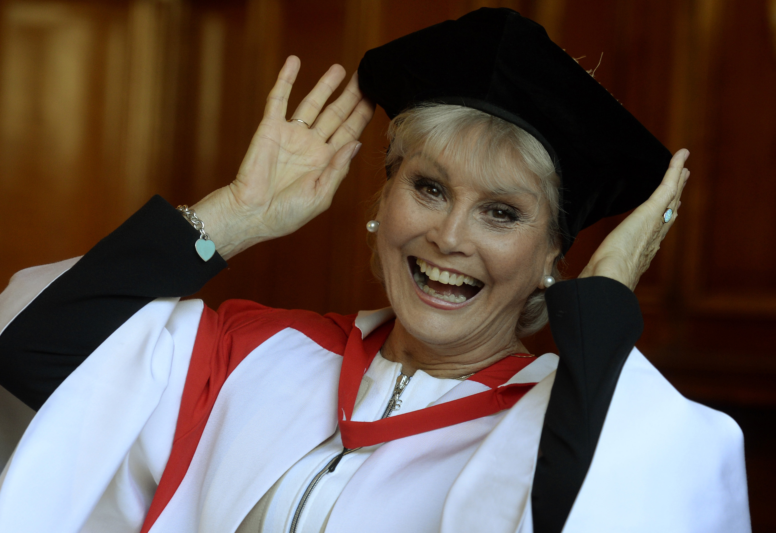 Angela Rippon awarded an honorary doctor of civil law degree at Newcastle Universityi n 2014. (Owen Humphreys/PA)