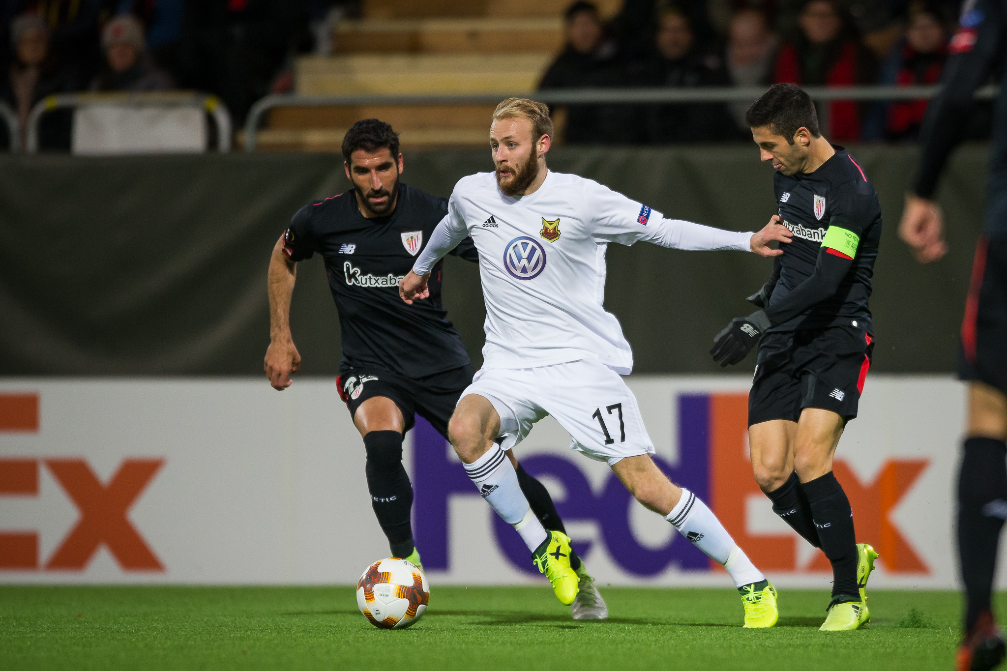 Ostersunds' Curtis Edwards playing against Athletic Bilbao (Johan Axelsson/Ostersunds)