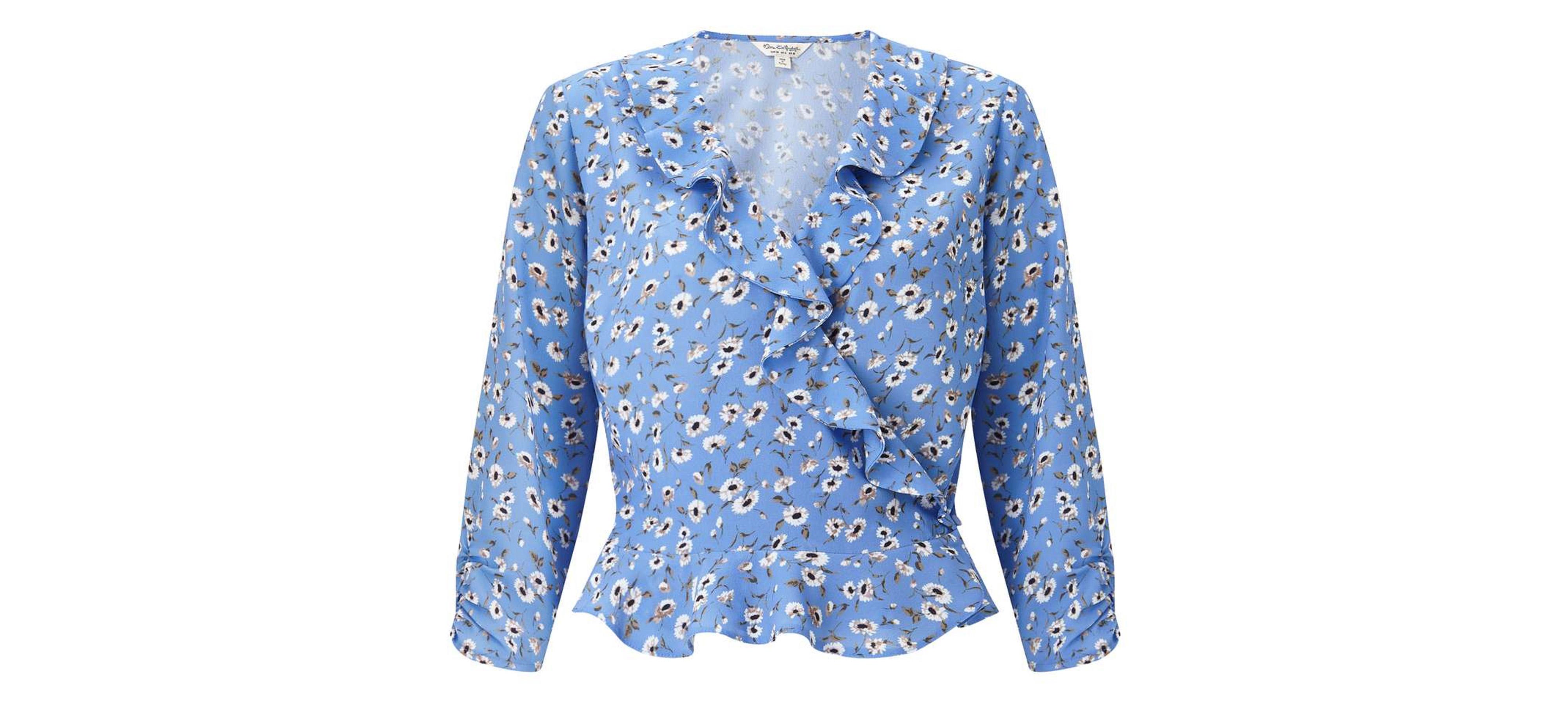 Miss Selfridge Blue Floral Print Ruffle Wrap Blouse