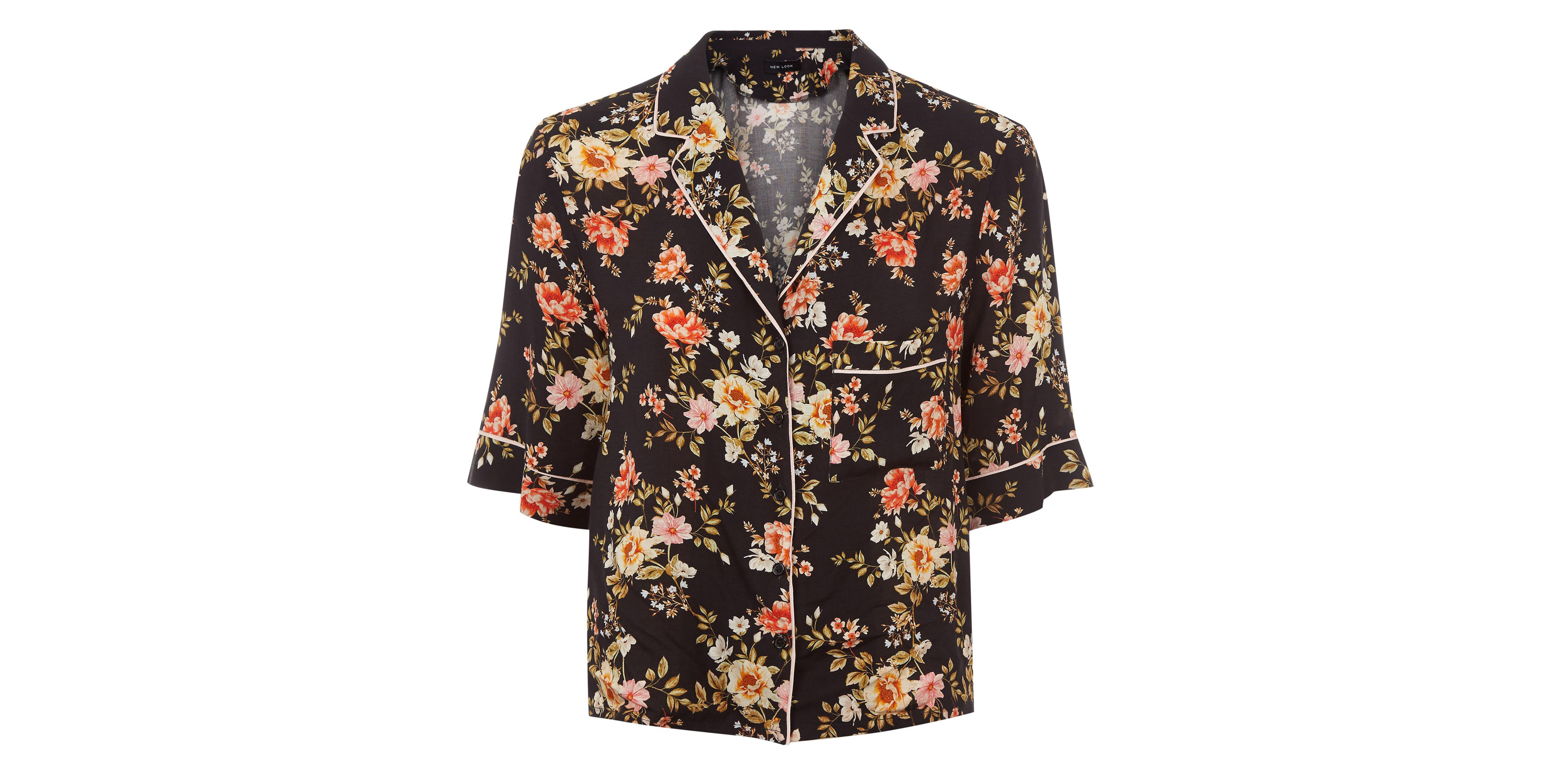 New Look Black Floral Pyjama-Style Shirt