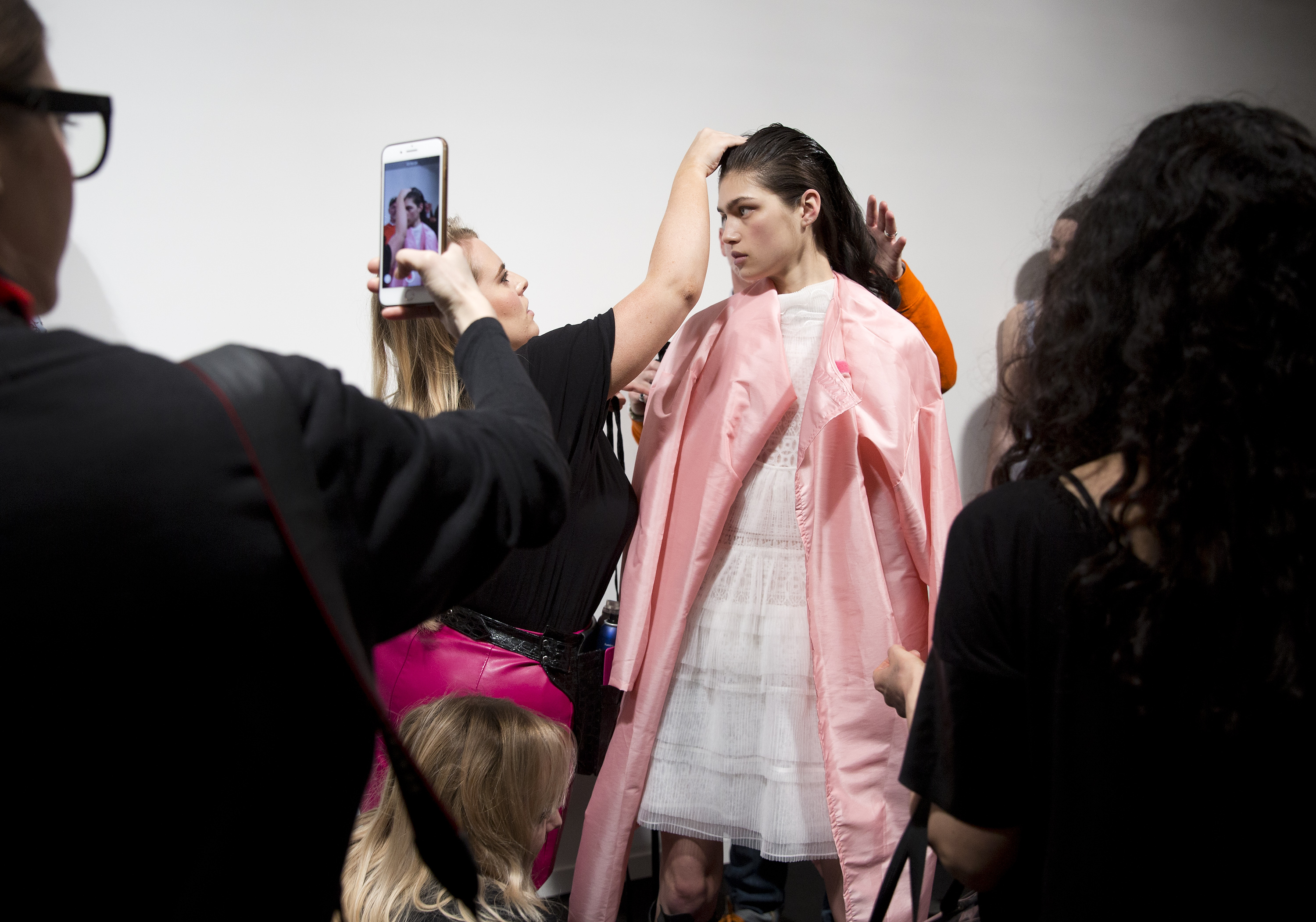 Models backstage during the Bora Aksu Autumn/Winter 2018 London Fashion Week show at BFC Showspace, London