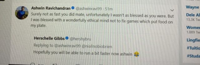 The tweet that Ashwin posted and then deleted