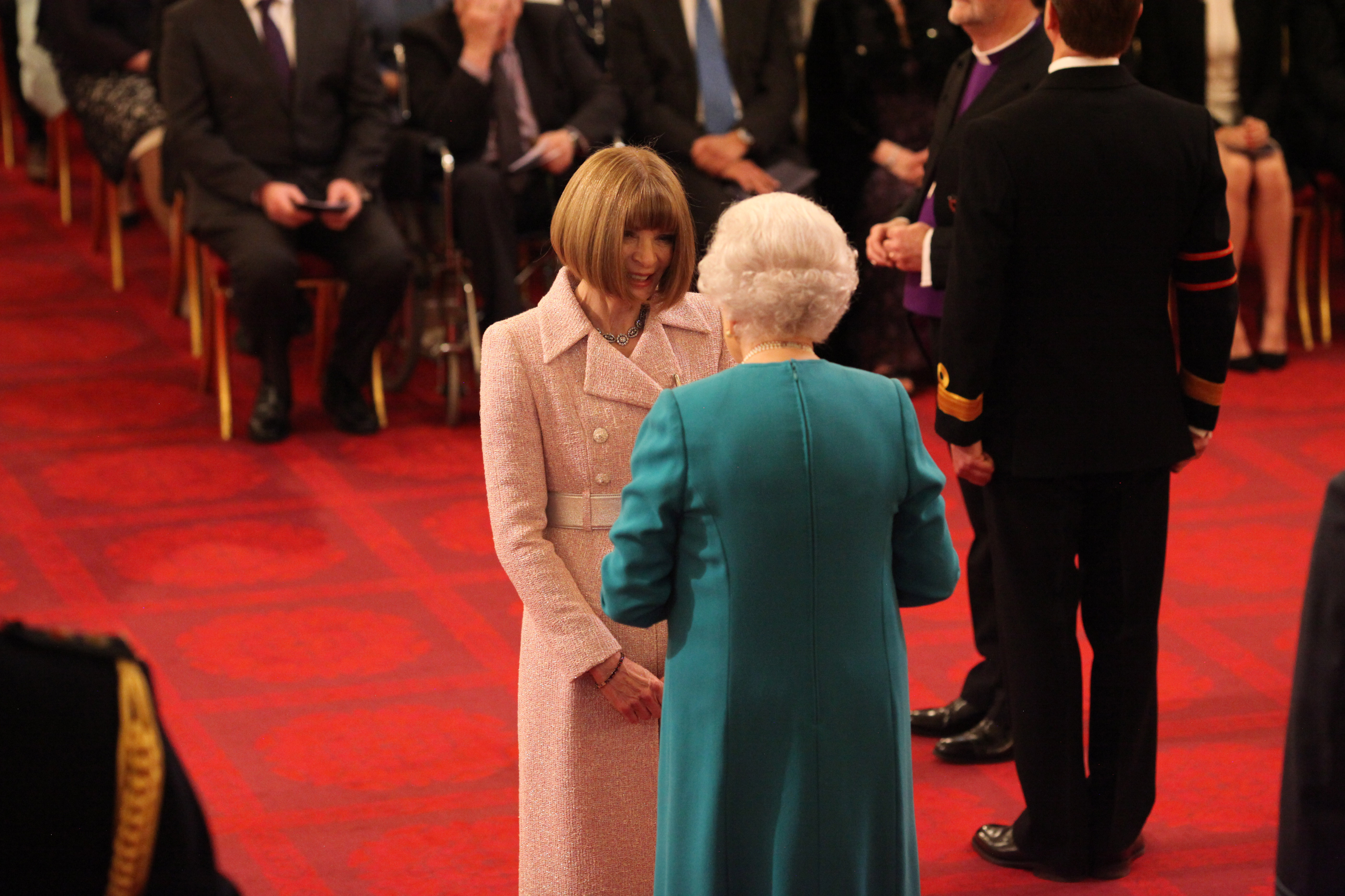 The Queen gives Anna Wintour a damehood at Buckingham Palace