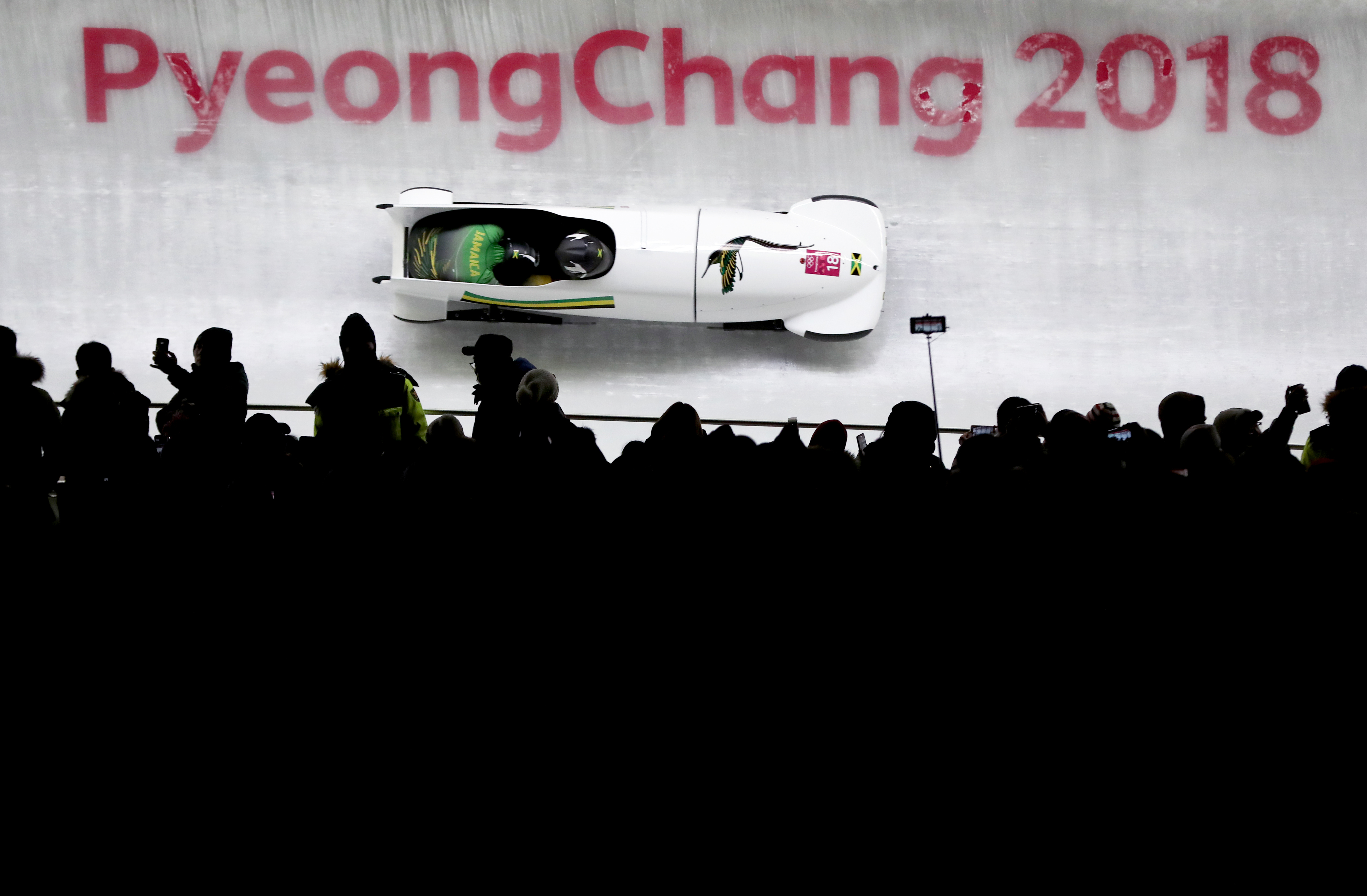 Jamaica in action during the two-woman bobsleigh heat at the 2018 Winter Olympics in Pyeongchang