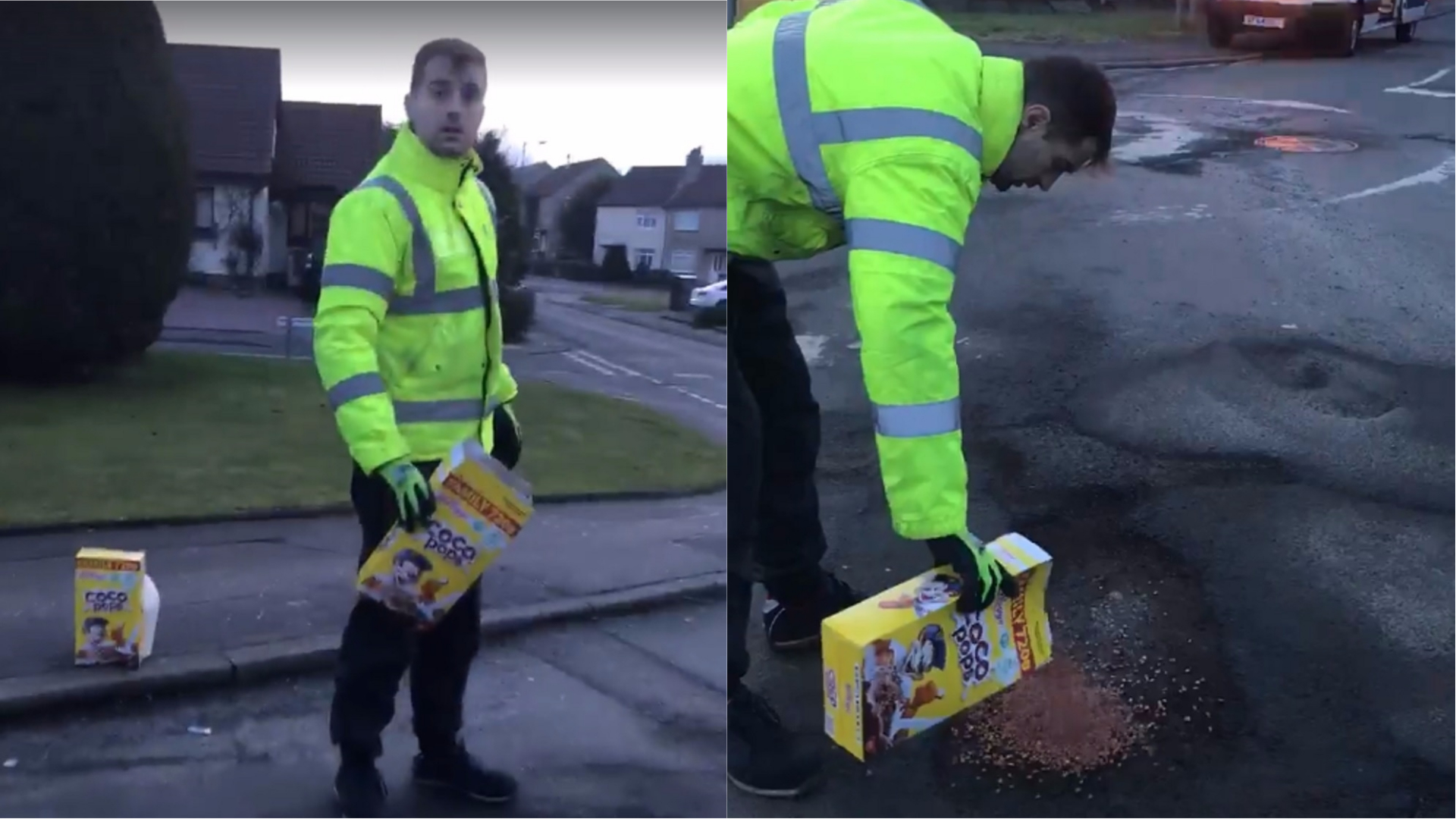 A satirical video shows a man filling potholes with Coco Pops