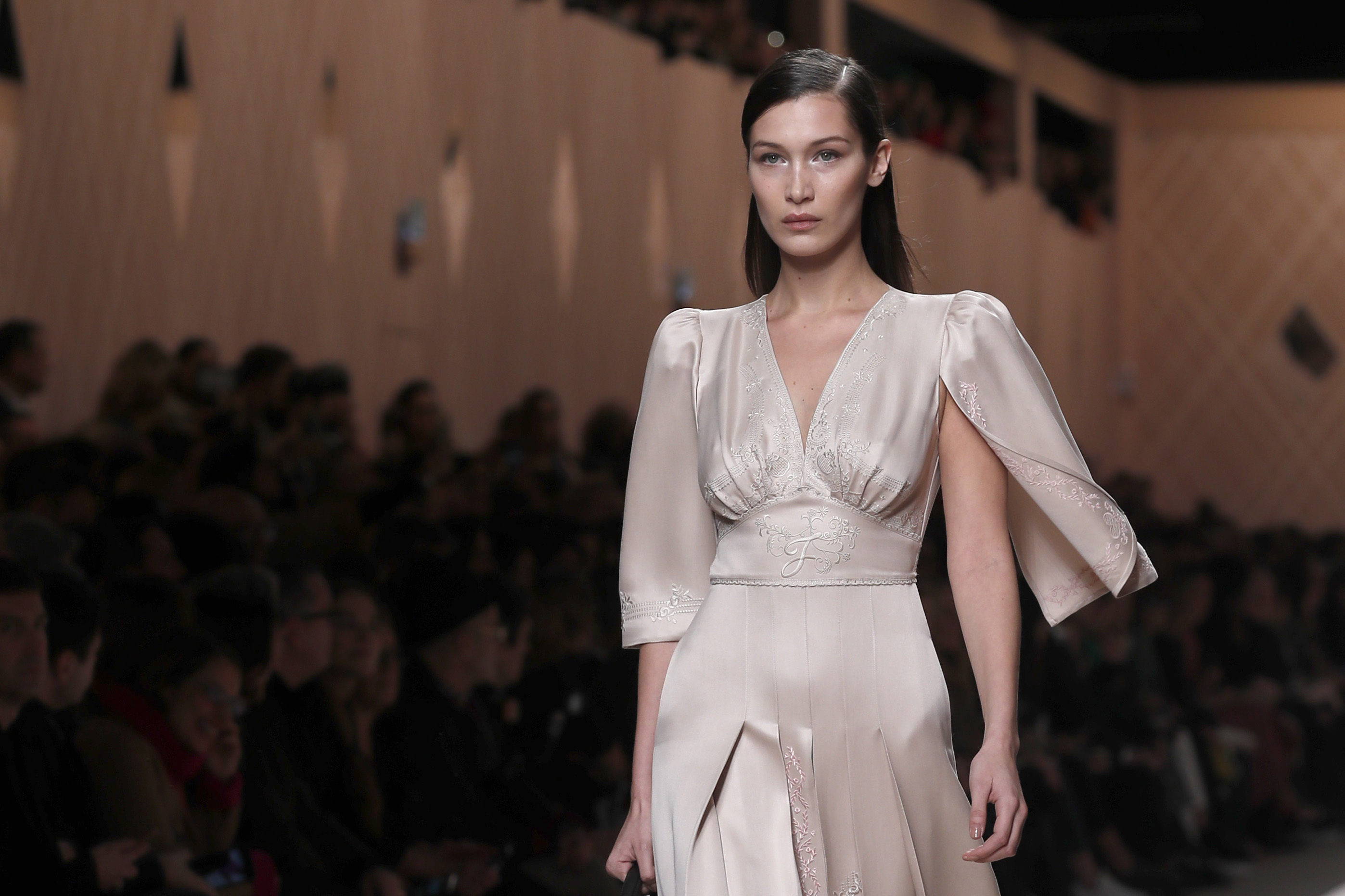 Model Bella Hadid wears a creation as part of the Fendi women's Fall/Winter 2018-2019 collection, presented during the Milan Fashion Week, in Milan, Italy
