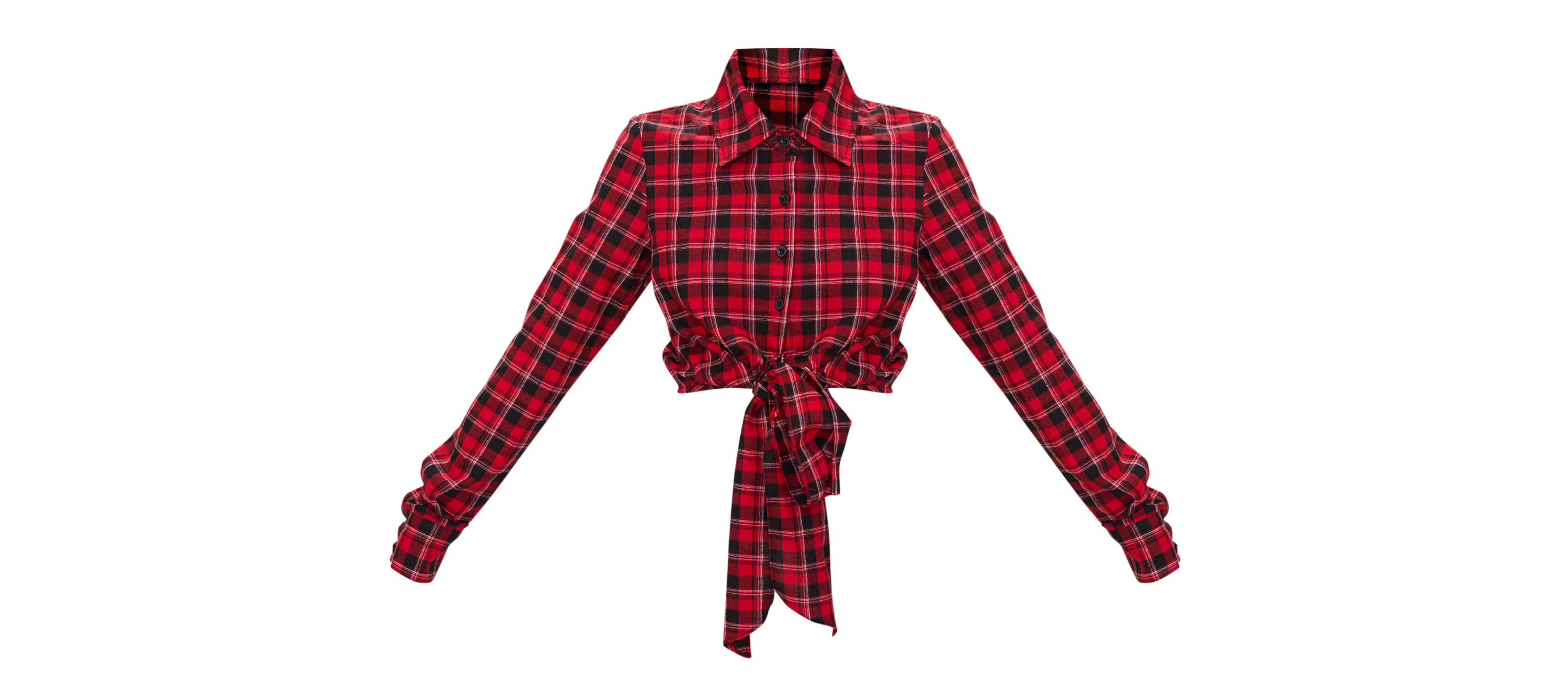 PrettyLittleThing Red Crop Check Tie Front Shirt