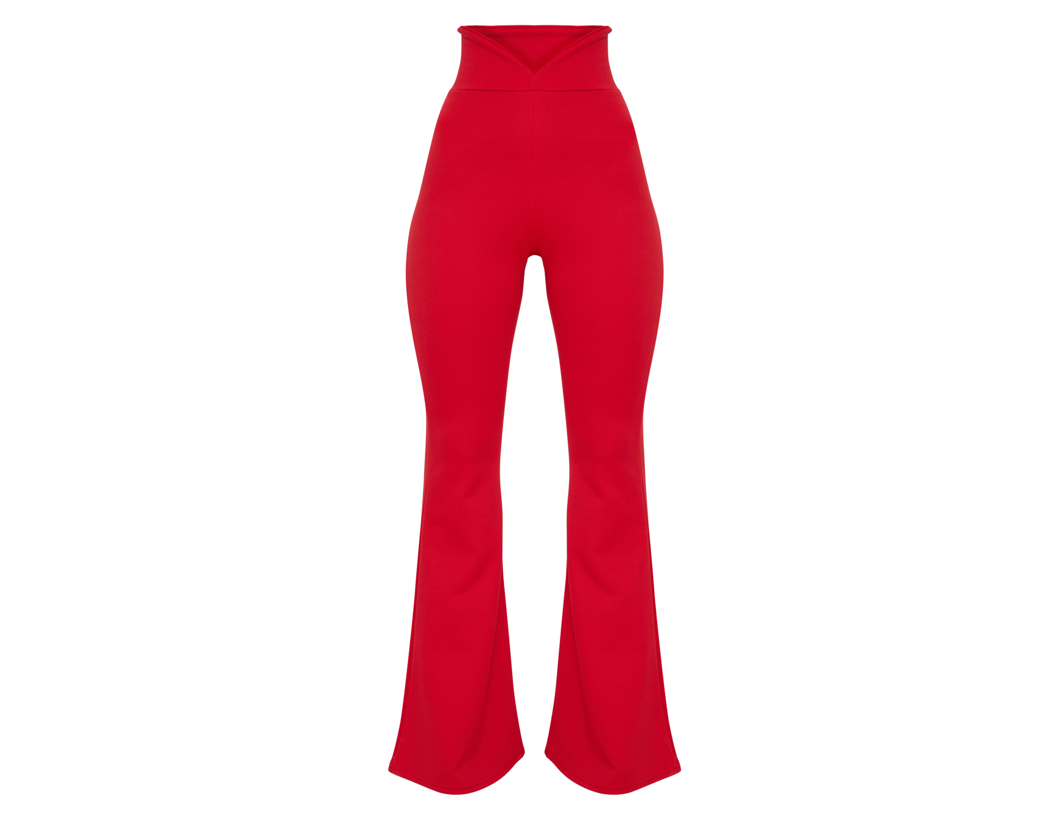 PrettyLittleThing Red Scuba Curve Waist Band Detail Flared Trousers