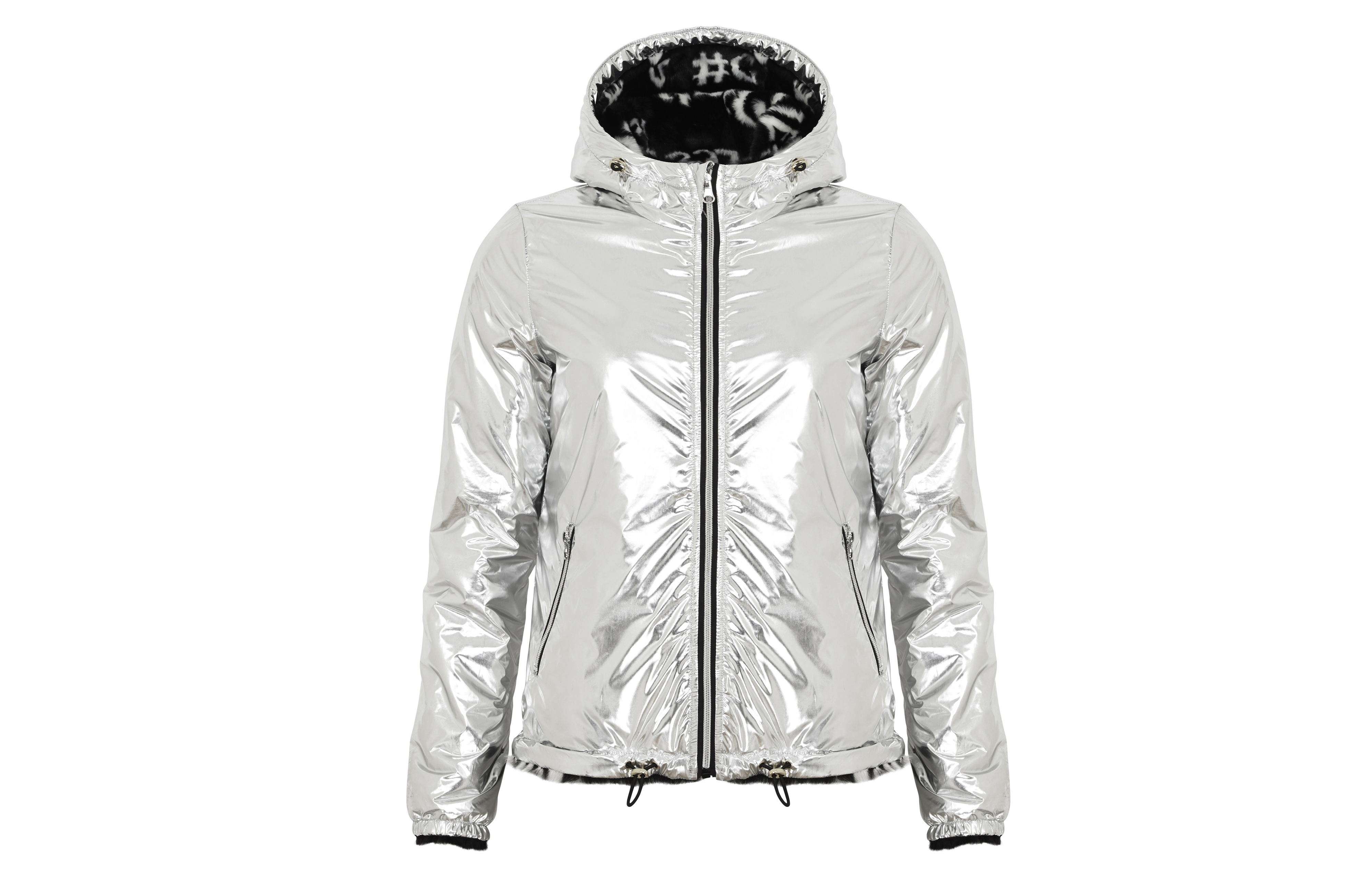 Guess Franky Silver Reversible Metallic Jacket