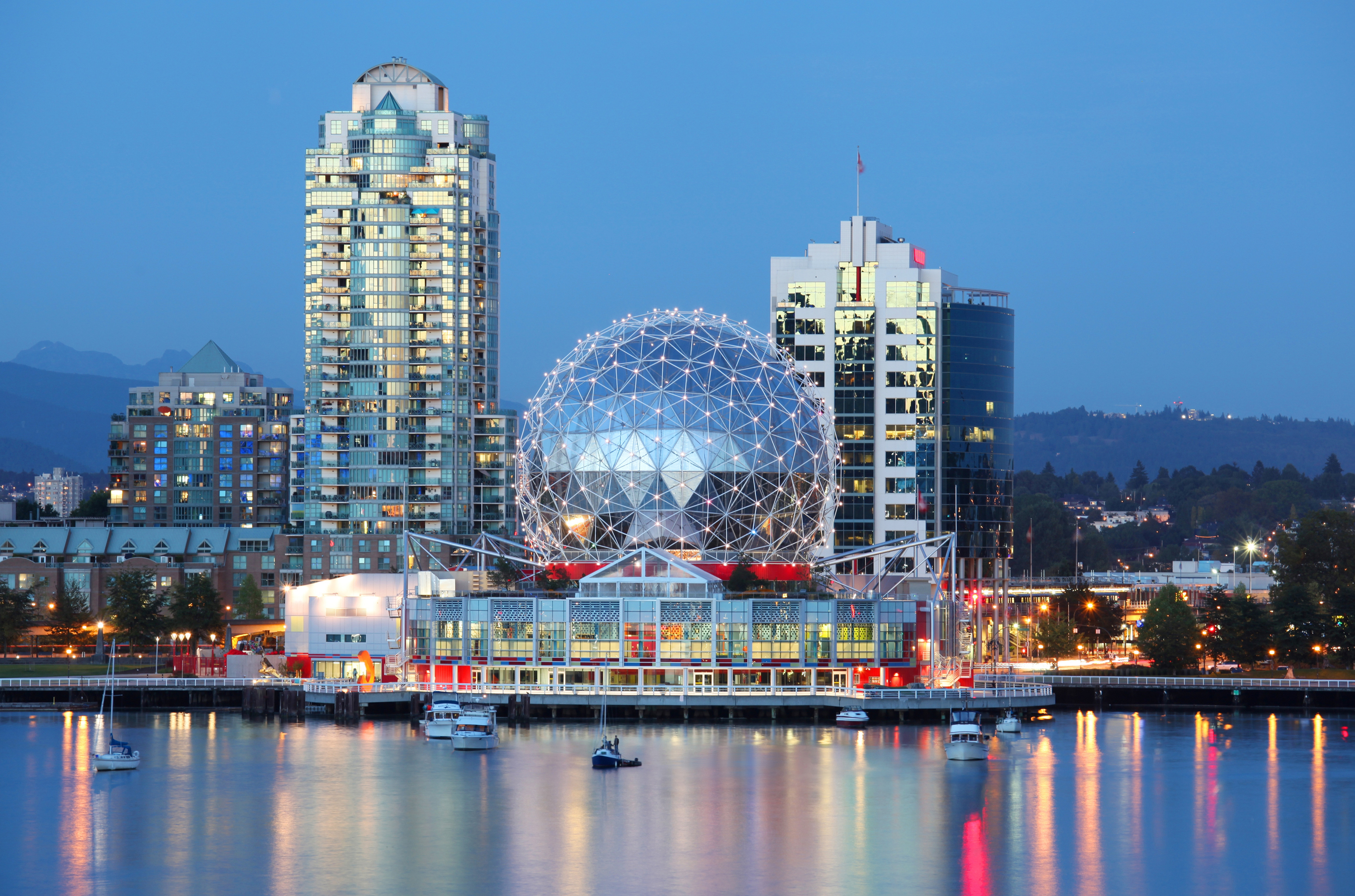 View of the shoreline of Vancouver with the dome of Science World in the centre. (danbreckwoldt/Thinkstock/PA)