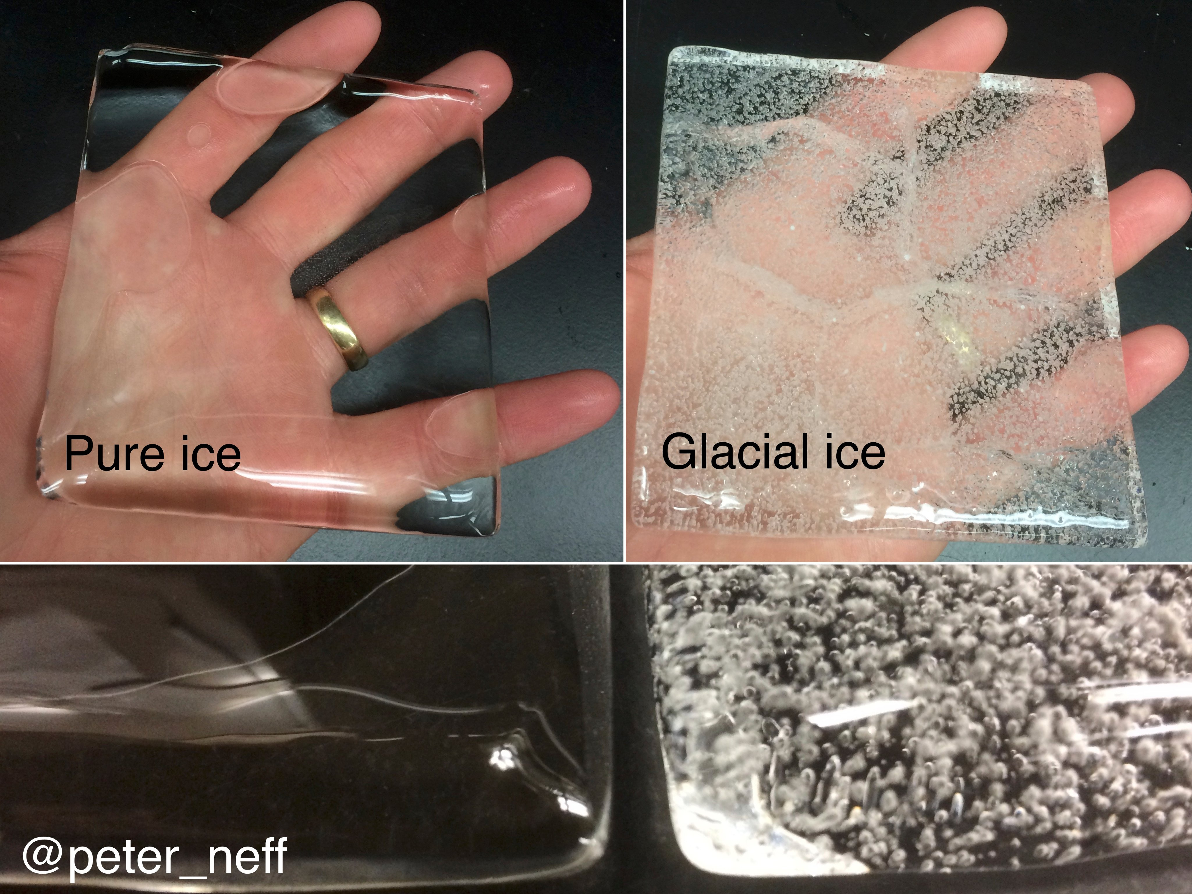 A comparison of pure ice and the ice taken from the glacier