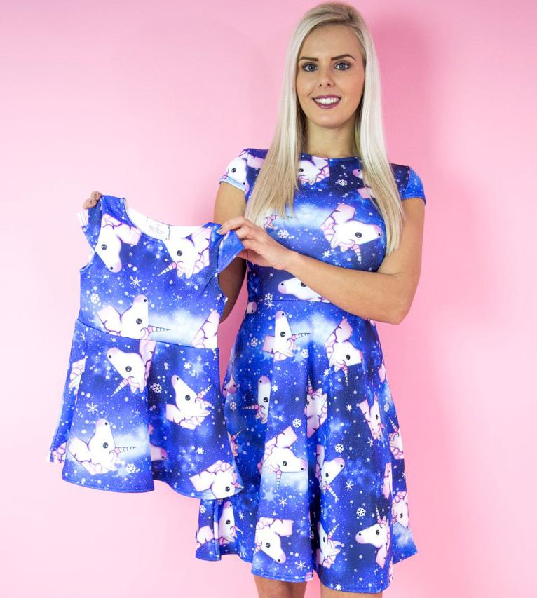 WantThatTrend Adult Blue Unicorn Skater Dress and Children's Blue Unicorn Skater Dress