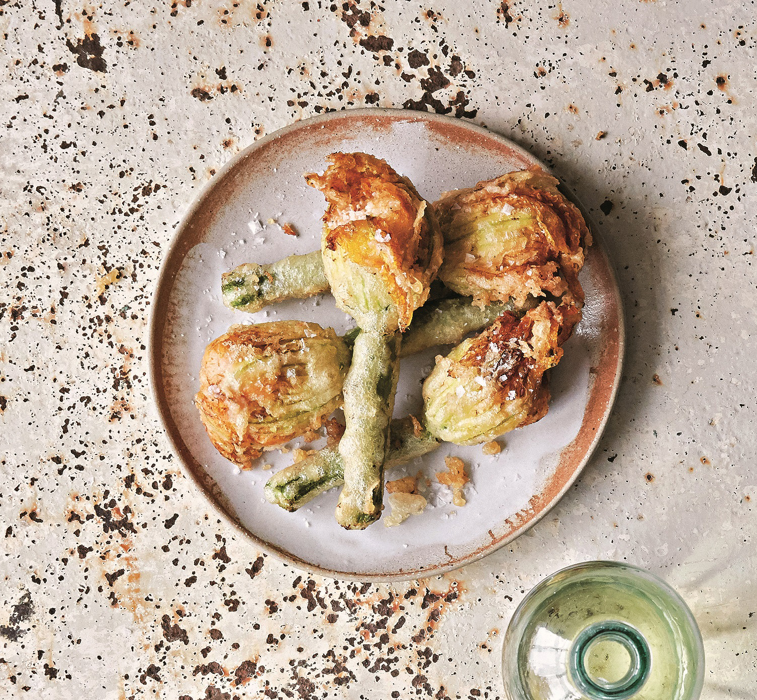 Stuffed courgette flowers from Fish and Seafood to share by Rick and Katie Toogood (Pavilion/PA)