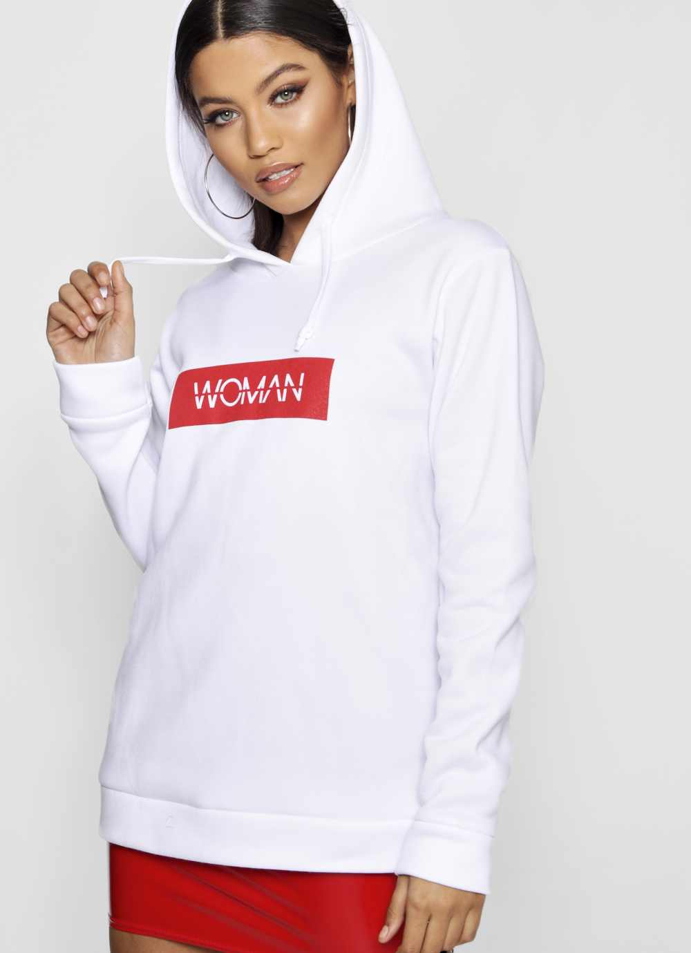 model wearing Boohoo Sasha Woman Hoody