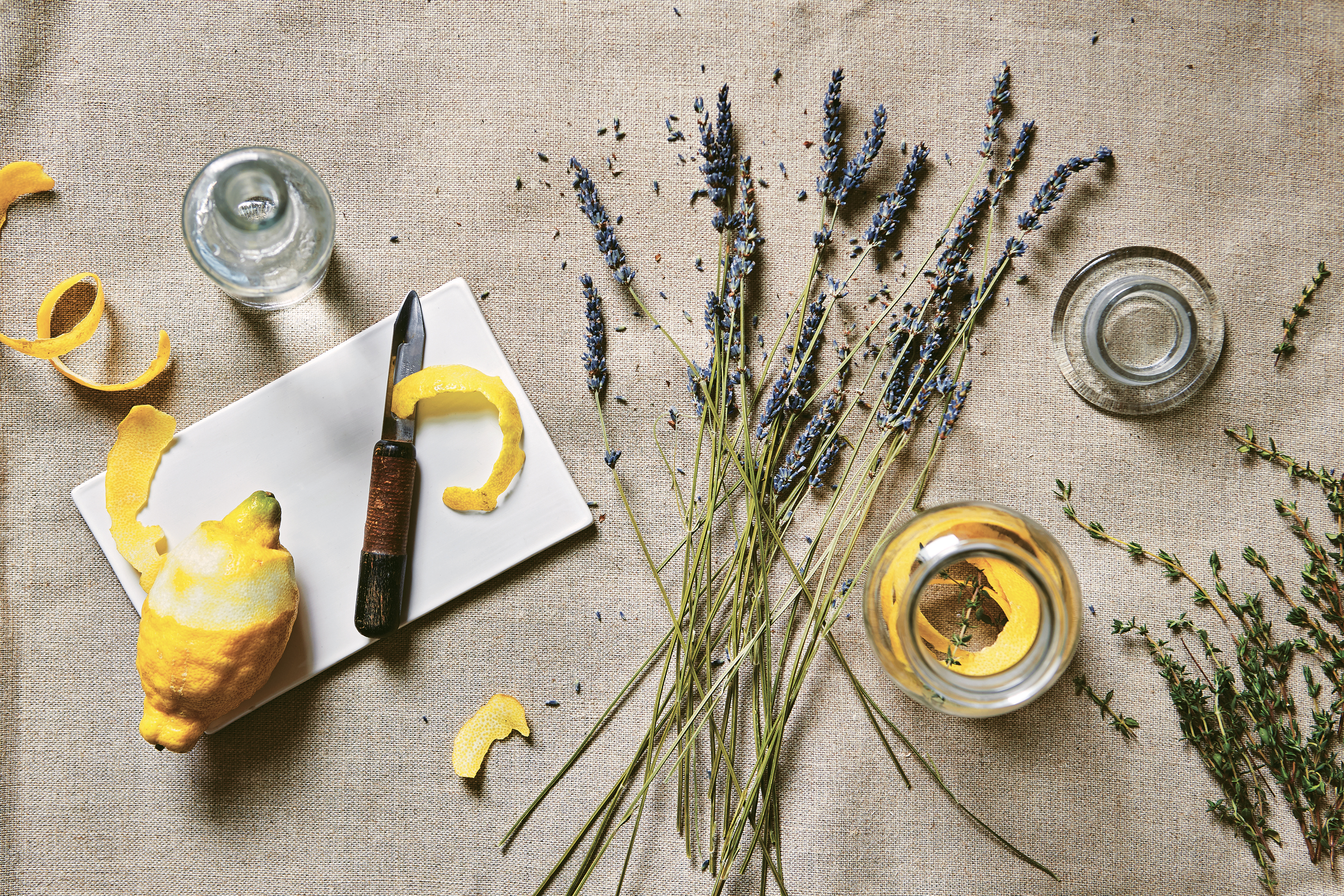 Ingredients for Lemon Lavender & Thyme Concentrate featured in Fresh Clean Home by Wendy Graham, photography Rachel Whiting, published by Pavilion, £12.99. (Rachel Whiting/Pavilion/PA)