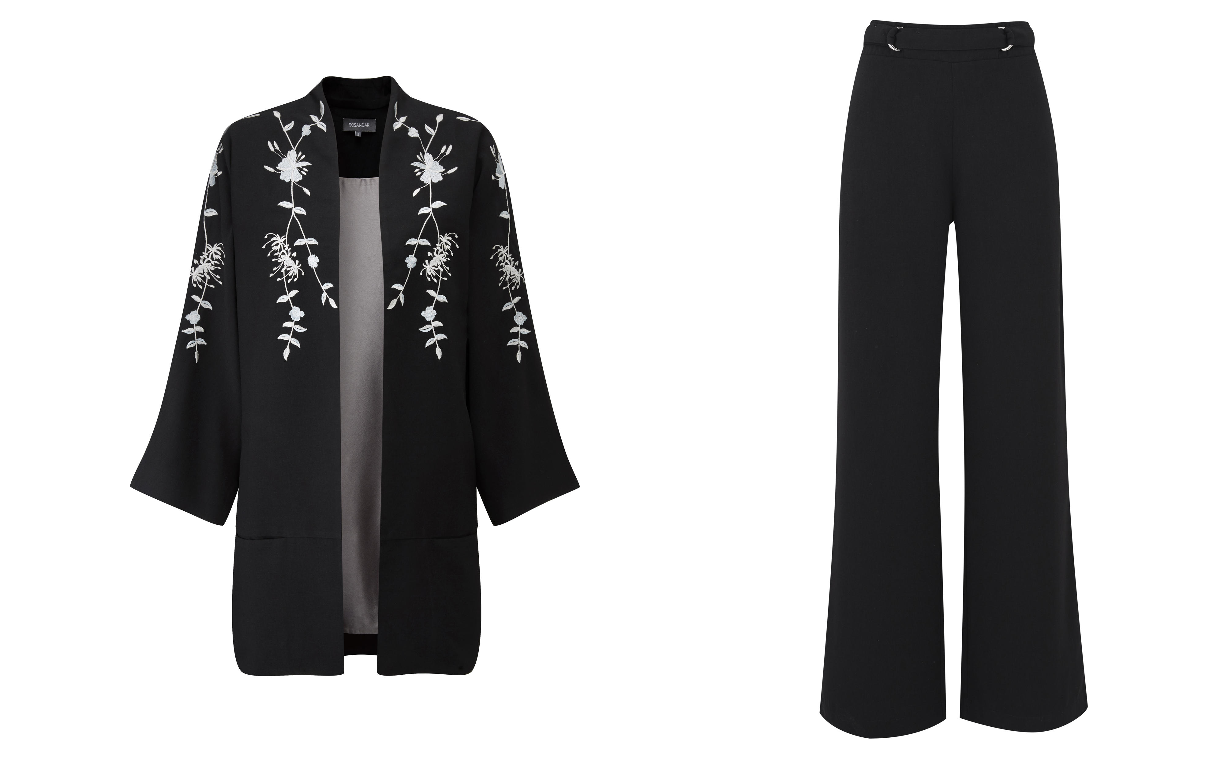 Sosandar Black Embroidered Kimono and Black Wide Leg Trousers