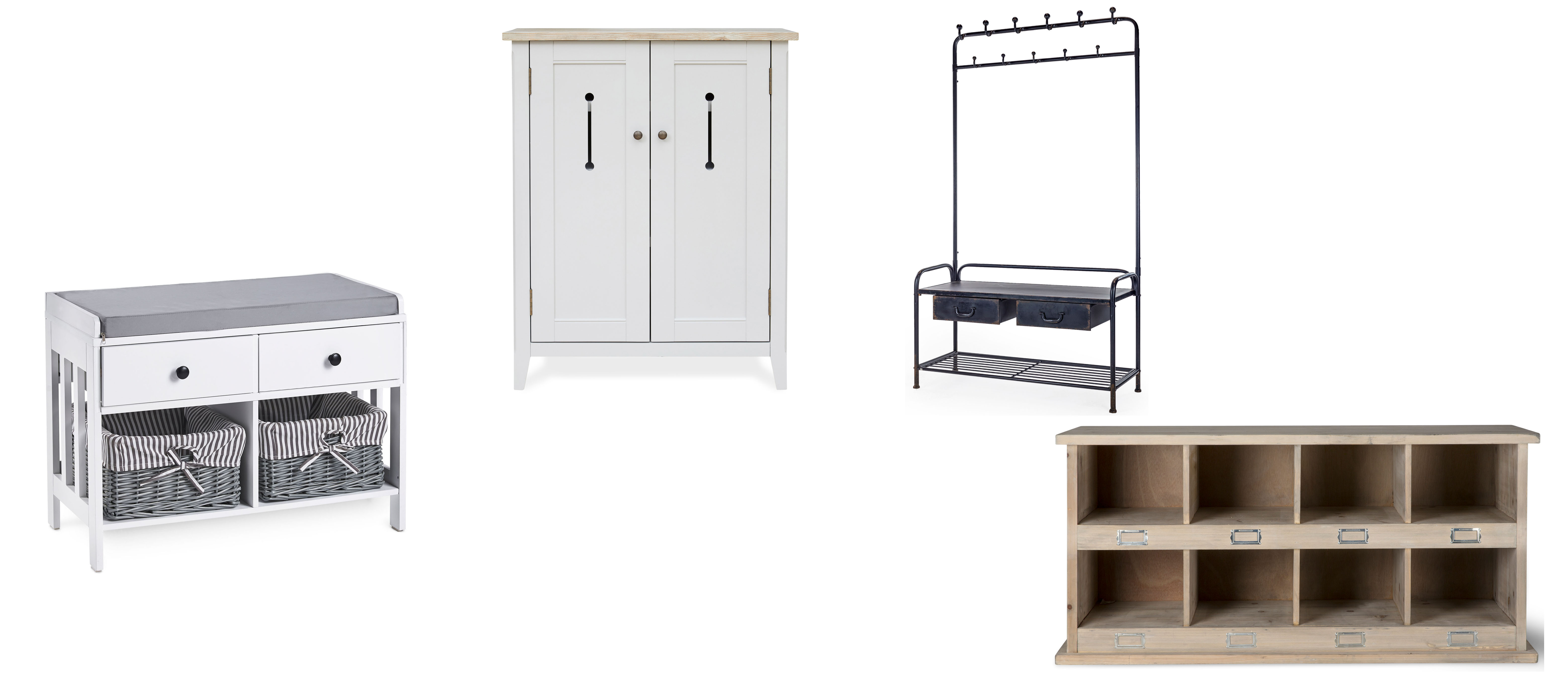(l-r) VanHaus Hall Seat & Storage Unit, £64.99, Domu Brands; Signature Grey Shoe Storage Cupboard, £319, Wooden Furniture Store; Cleo Black Metal Coat Rack Bench, reduced from £280 to £255, Alexander & Pearl; Chedworth 8 Shoe Locker, Spruce, £180, Garden Trading (Domu Brands; Wooden Furniture Store; Alexander & Pearl/Garden Trading/PA.)