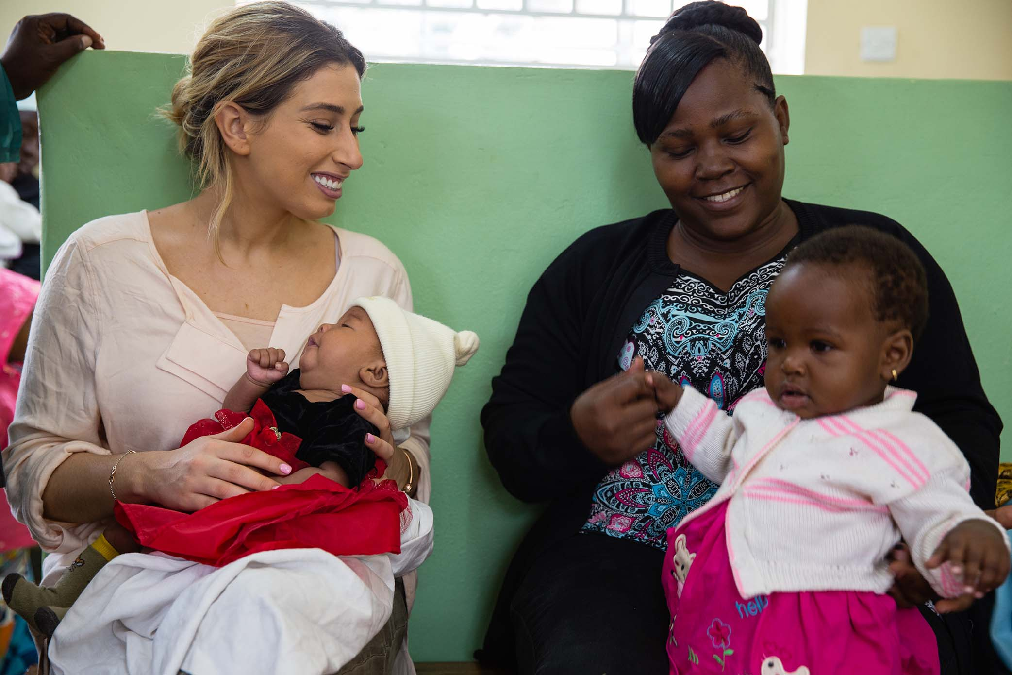 Stacey Solomon visits a health centre in Kampala (Esther Mbabazi)