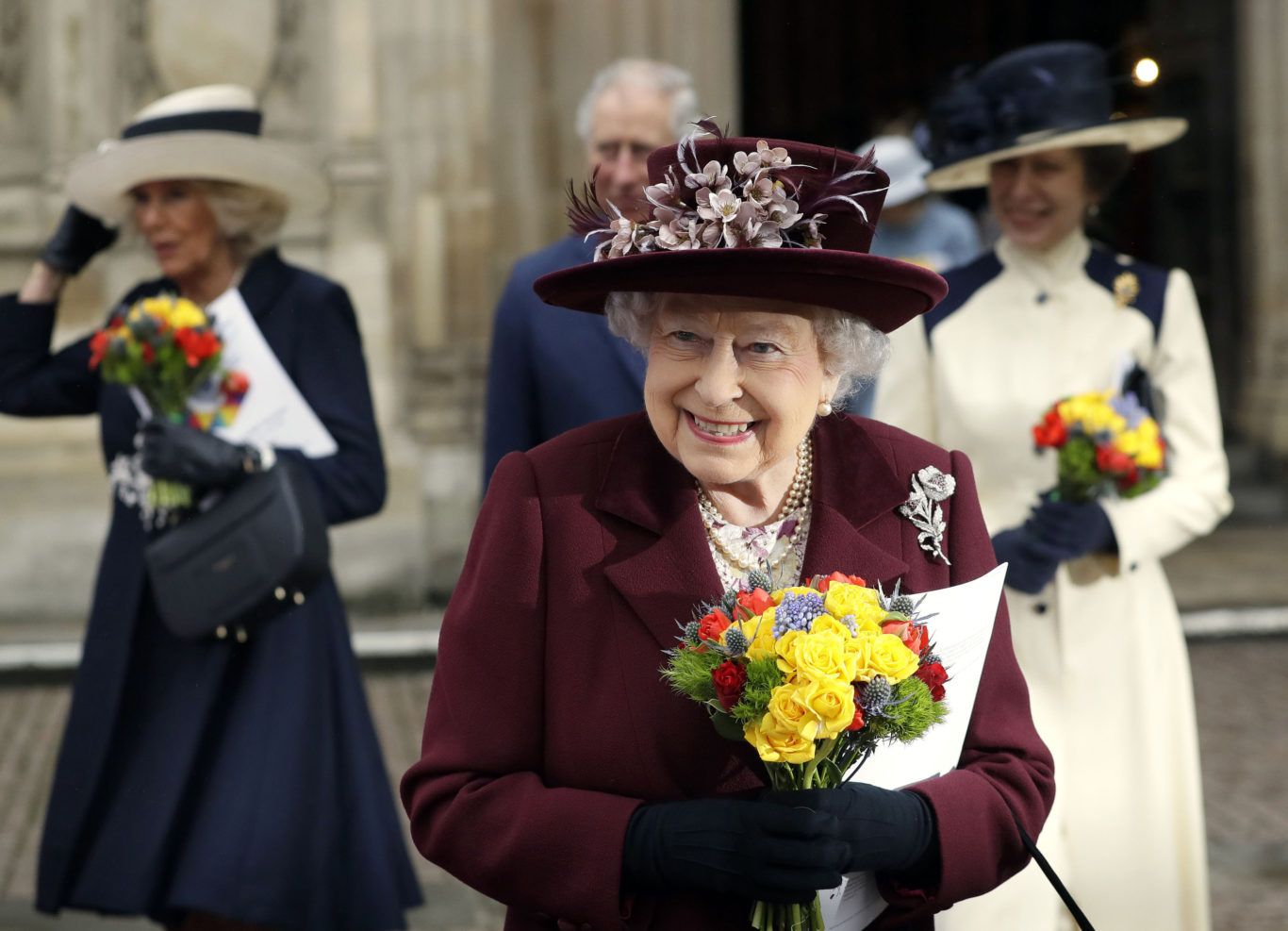 The Queen as she leaves the Commonwealth service (Kirsty Wigglesworth/PA)
