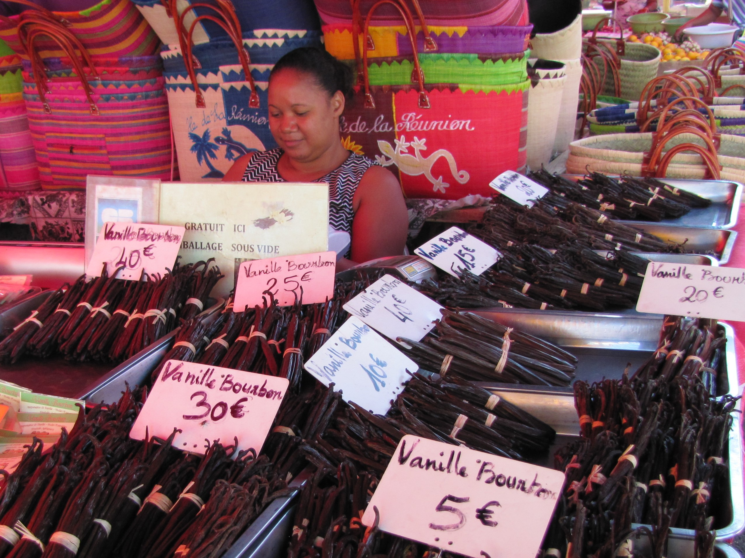 Vanilla on sale at a market in Saint-Paul, Reunion (Verena Vogt/PA)