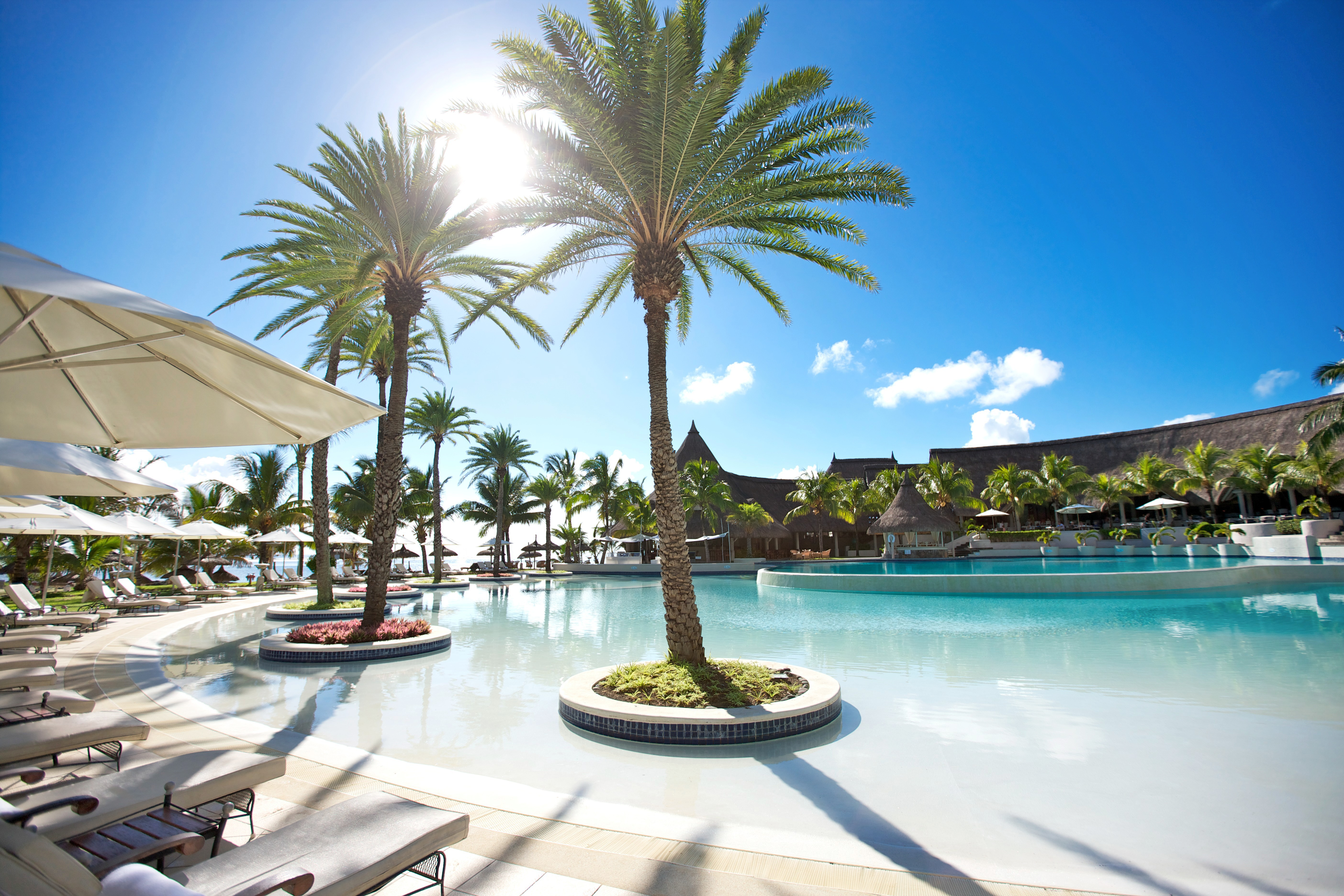 The main pool at the Lux Belle Mare hotel on Mauritius (Lux Belle Mare/PA)