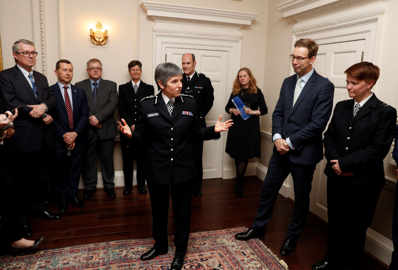 Metropolitan Police Commissioner Cressida Dick makes a speech during the reception (Adrian Dennis/PA)