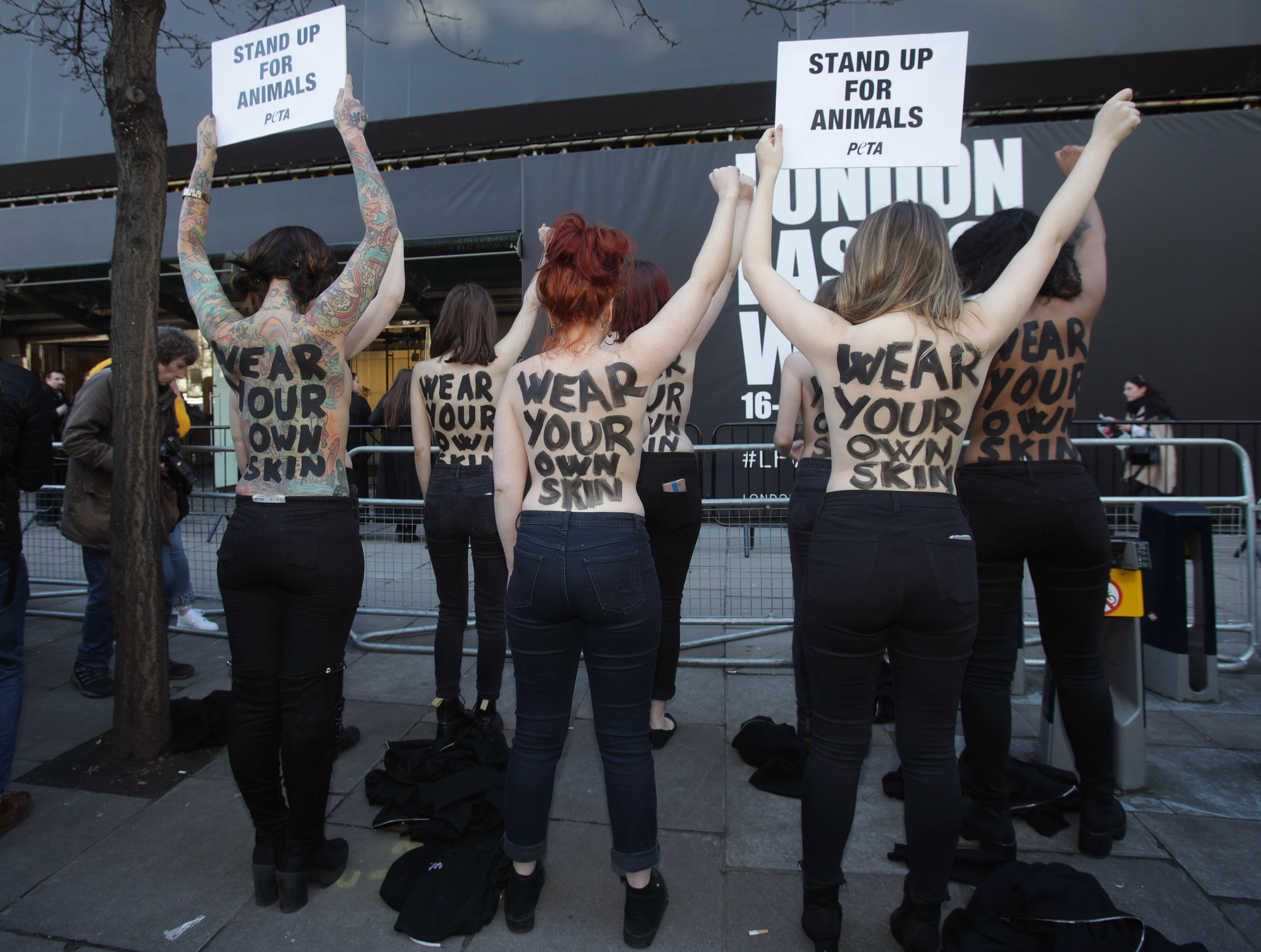 PETA supporters staged a protest against the use of fur at London Fashion Week in February