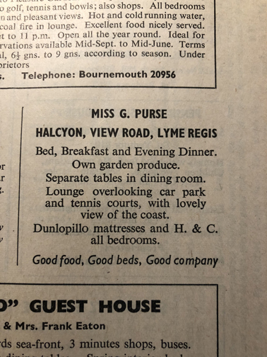 Ad in paper offering B&B accommodation