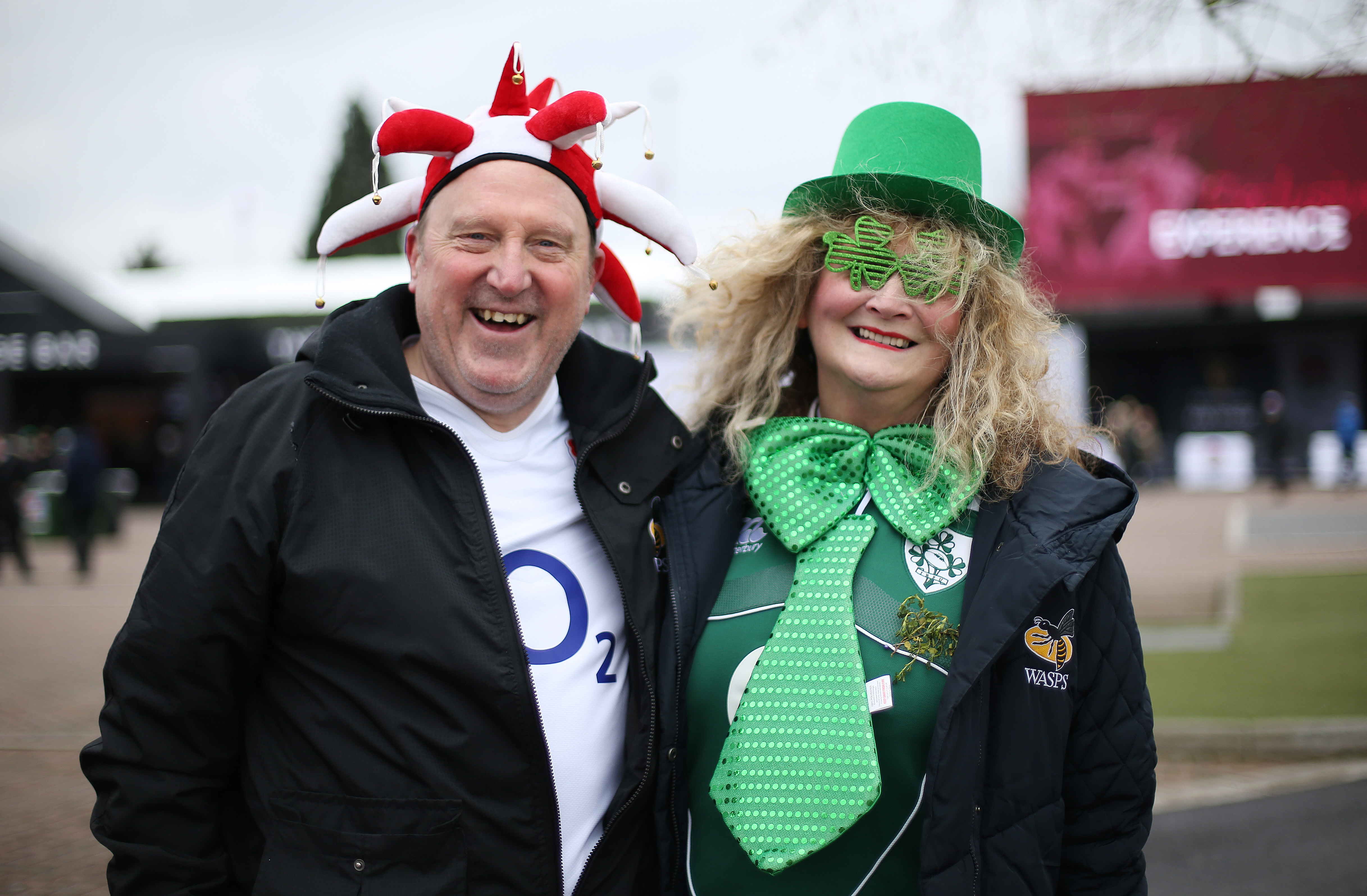 England and Ireland fans before the NatWest 6 Nations match at Twickenham Stadium, London
