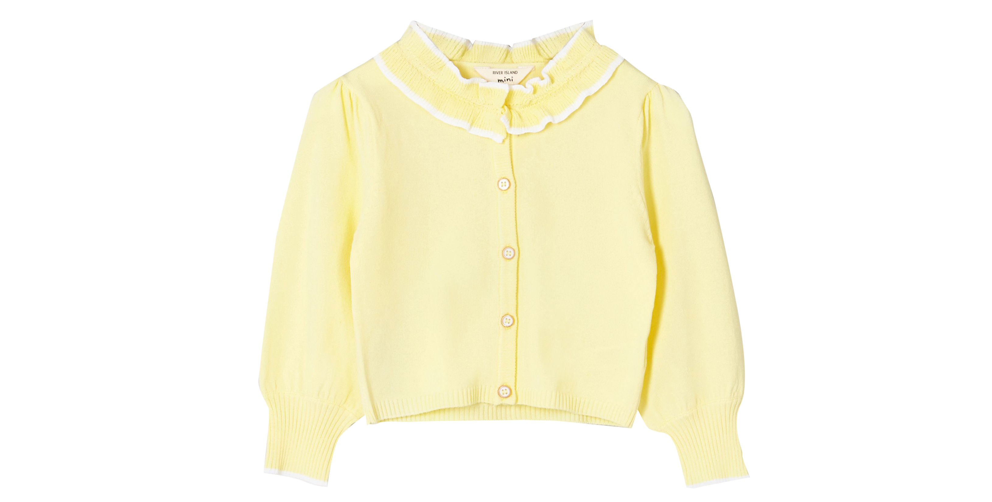 River Island Mini Girls Yellow Frill Collar Cardigan