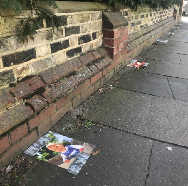 Pictures placed at intervals on the pavement outside the clinic showed the development of a foetus from six weeks to birth (Jemma Crew/PA)