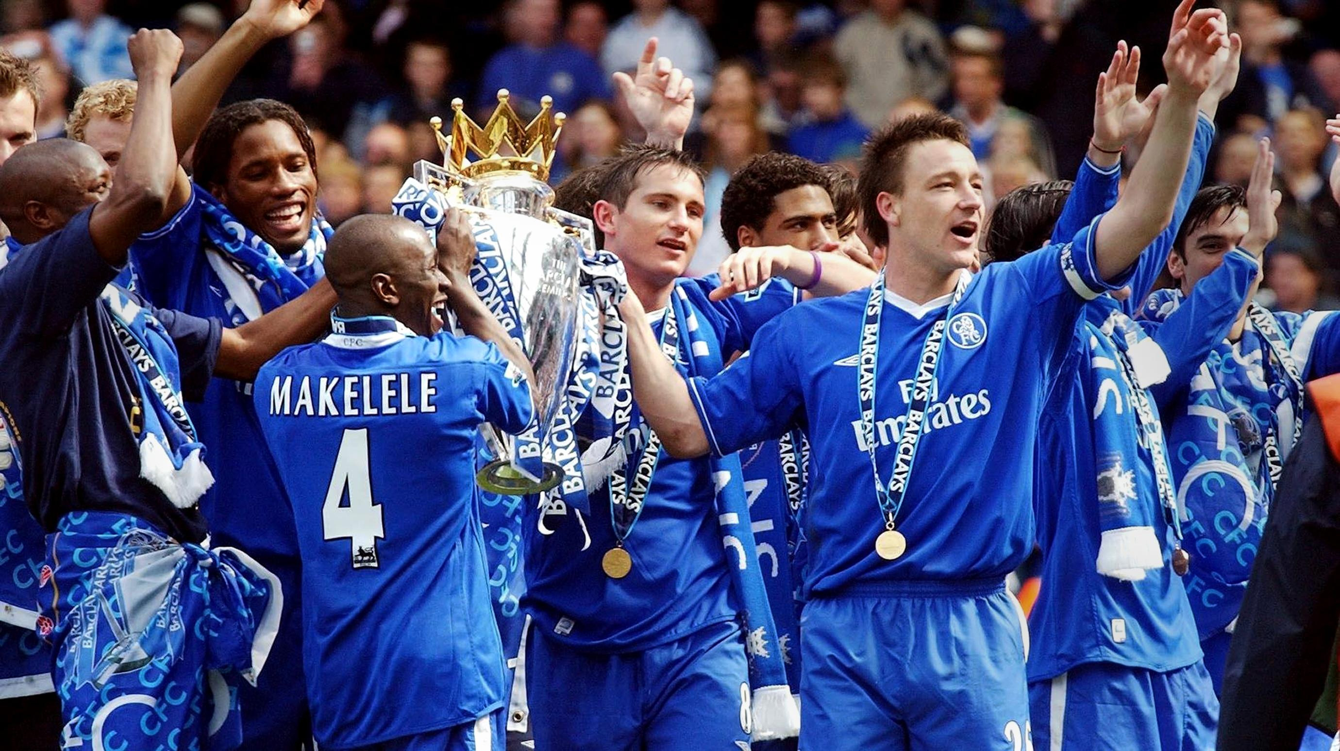 Chelsea's 2004/05 team celebrate winning the Premier League title