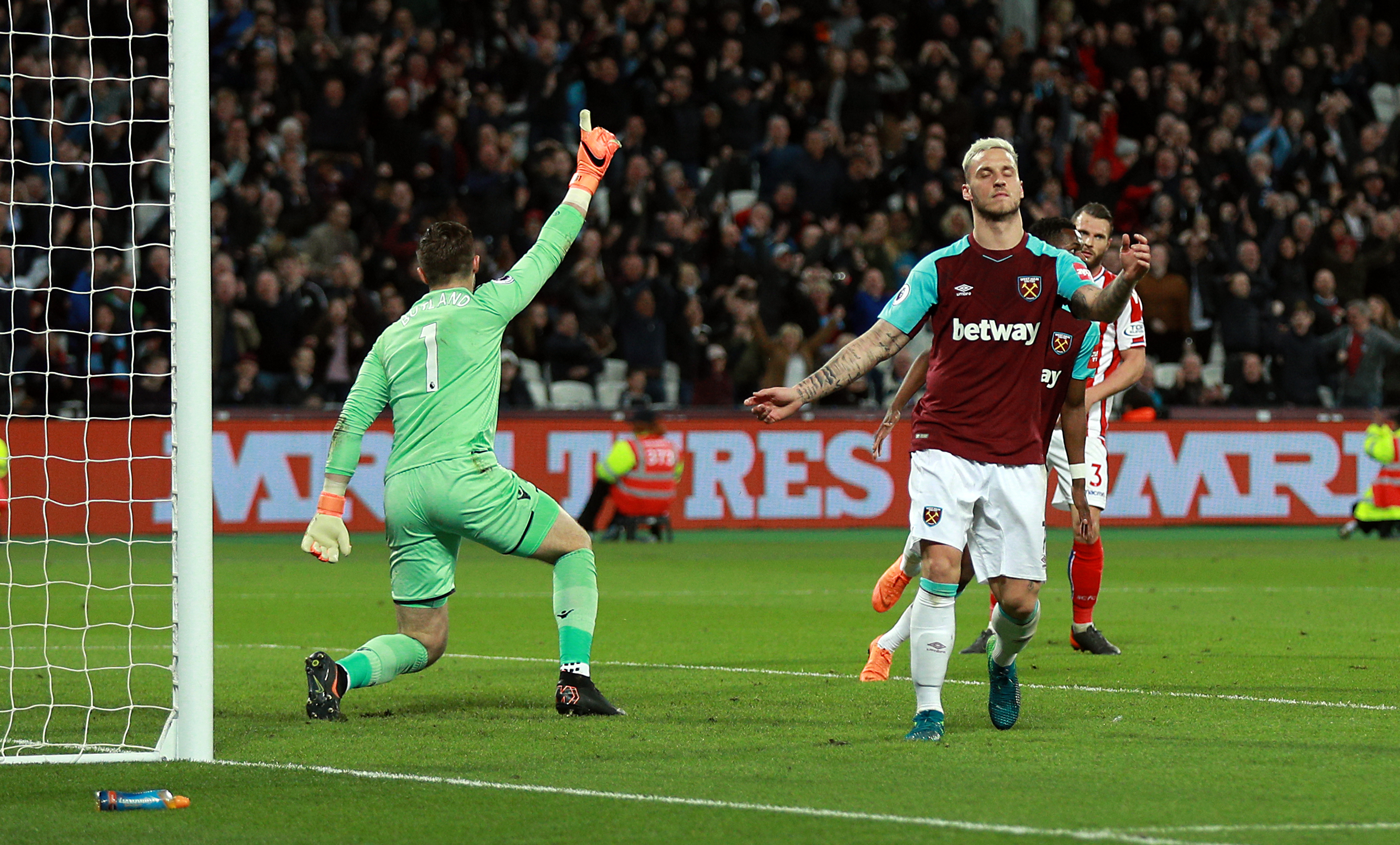 West Ham United's Marko Arnautovic has a goal disallowed