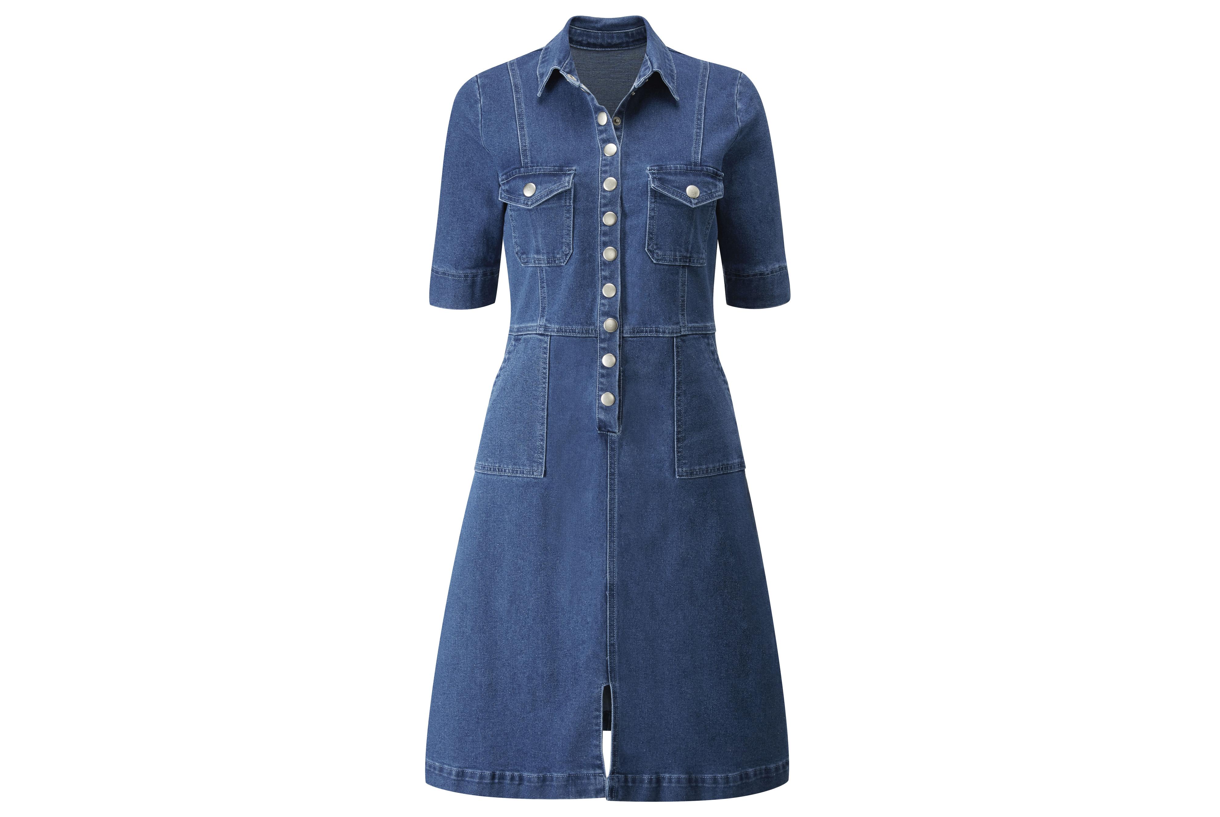 Sosandar Indigo Popper Front Denim Dress