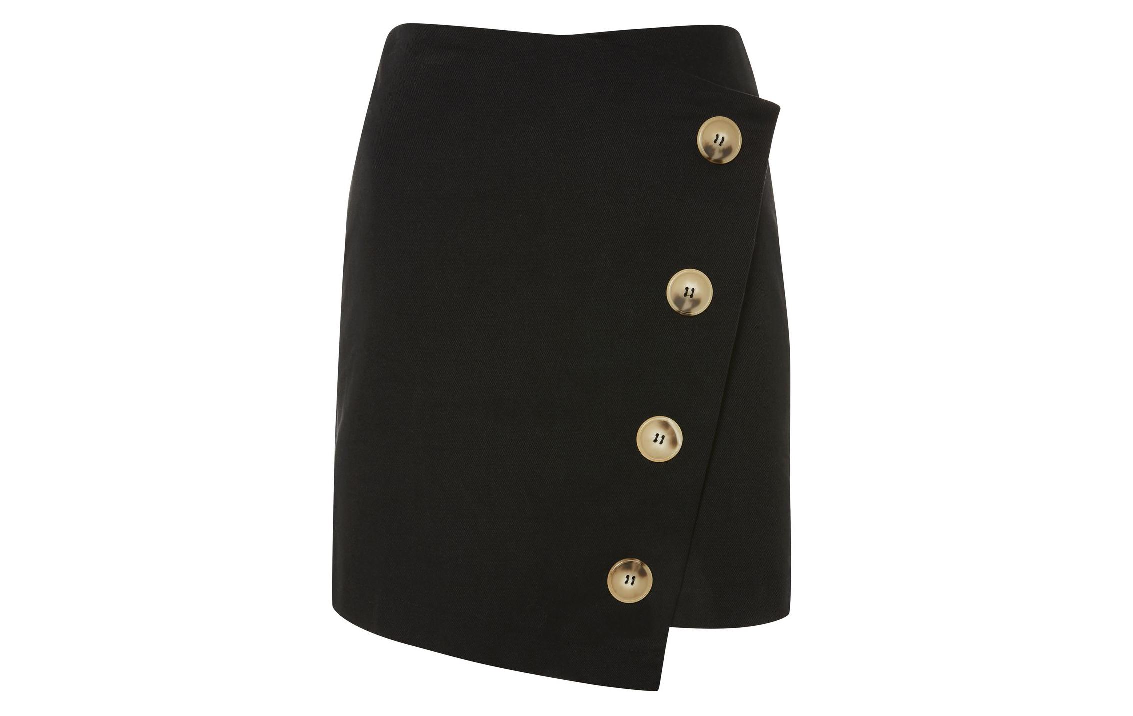 Topshop Twill Asym Wrap Skirt